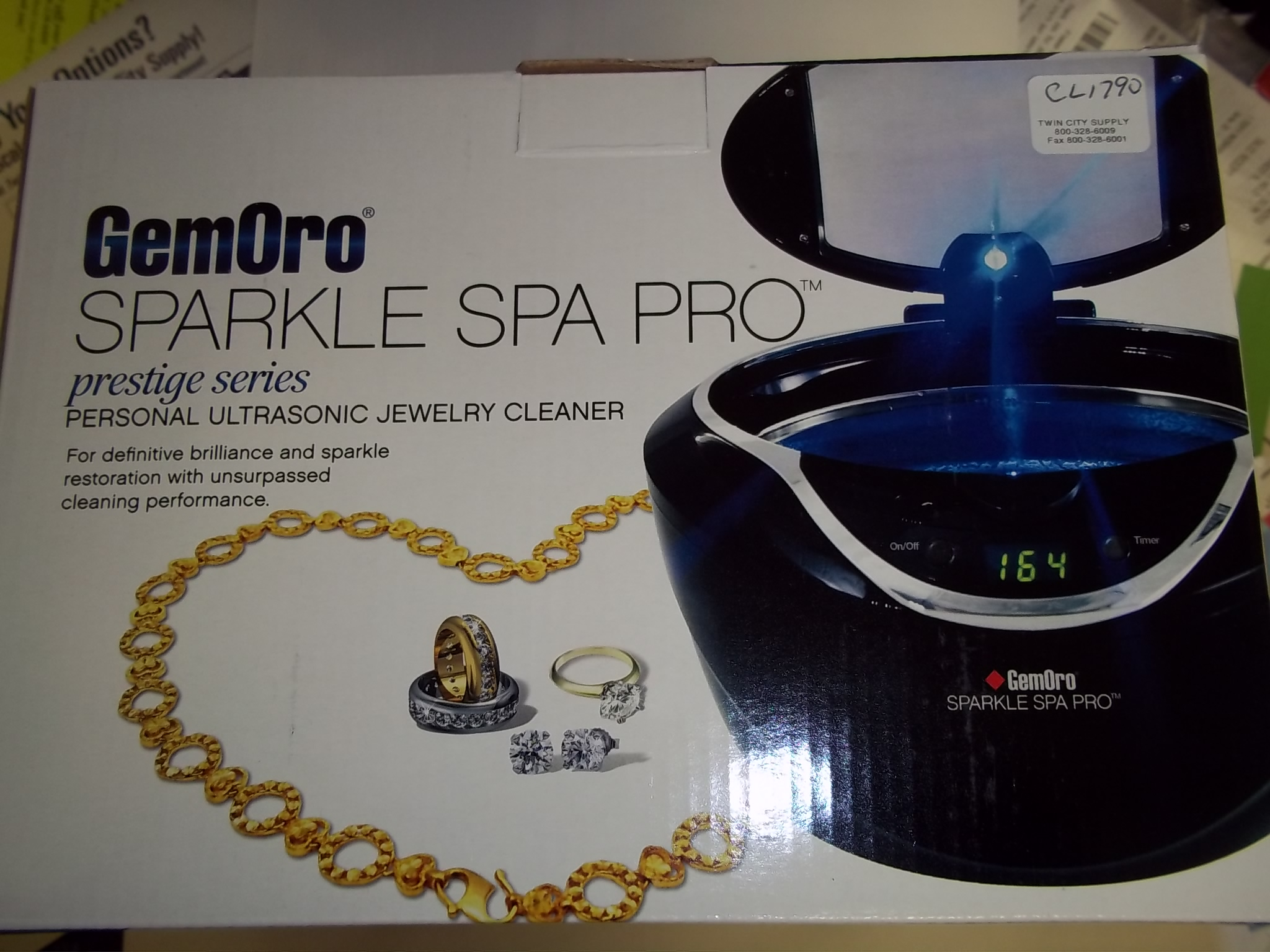 CL1790 NEW! GEM-ORO DIGITAL Sparkle Spa PRO Personal Ultrasonic Jewelry Cleaner