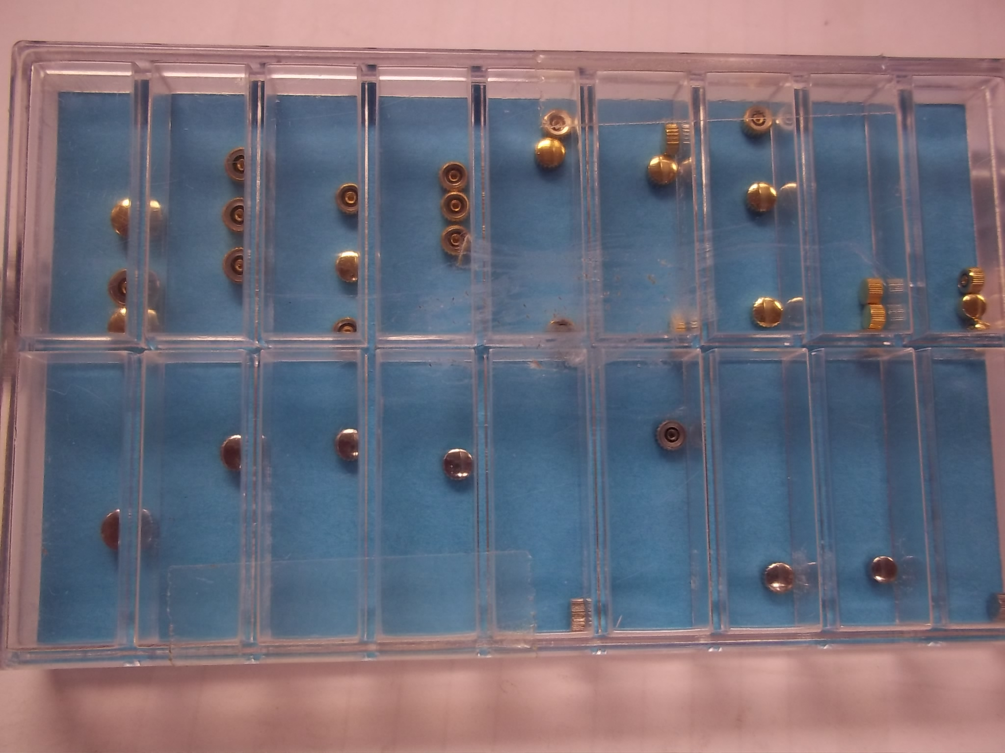 5610 A*F Assortment of Japanese Style Watch Crowns--36 pieces Yellow & Stainless Steel