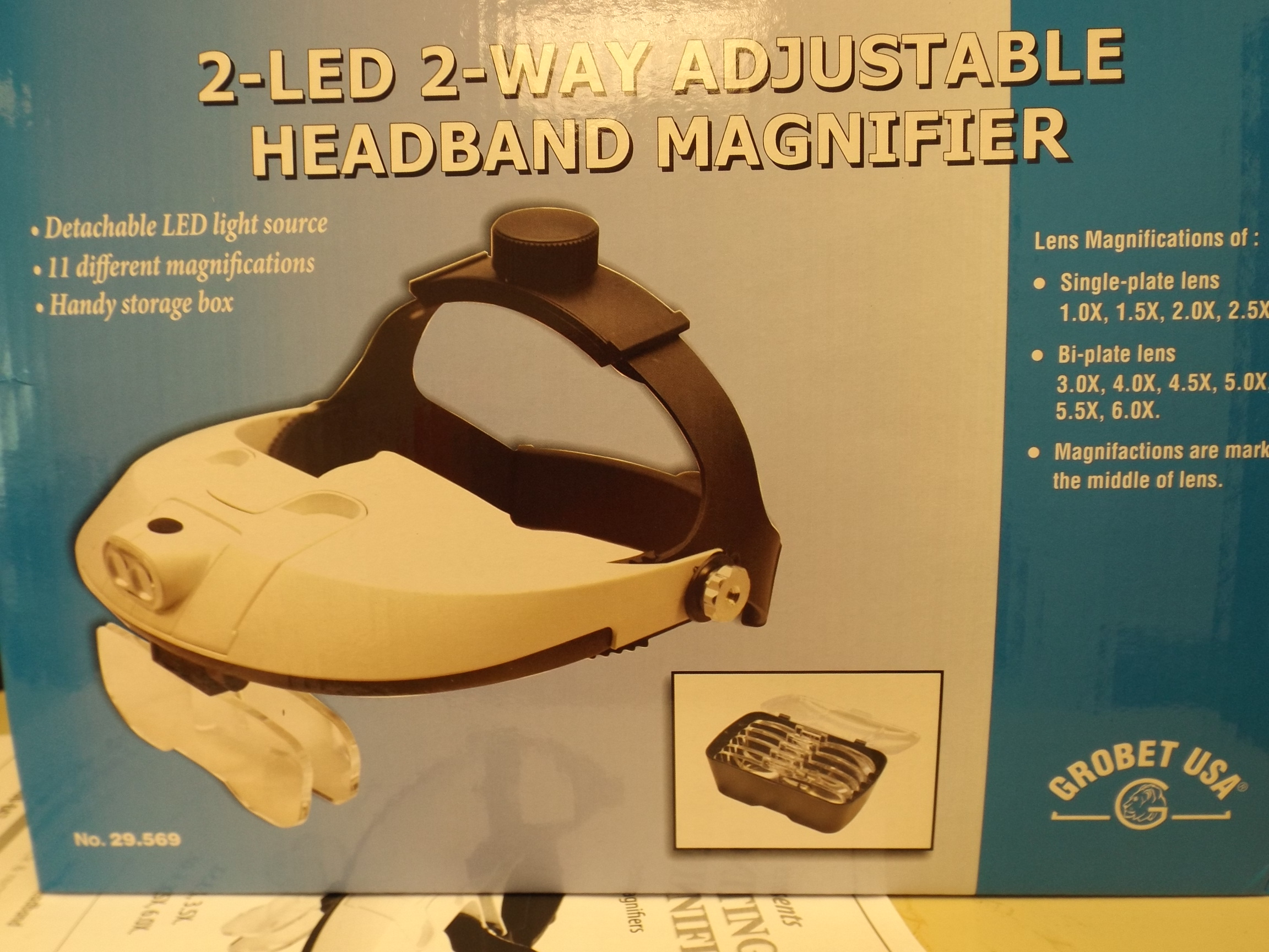 EL29.569 2 LED Illuminating Headband Magnifier with Adjustable Headband from Grobet
