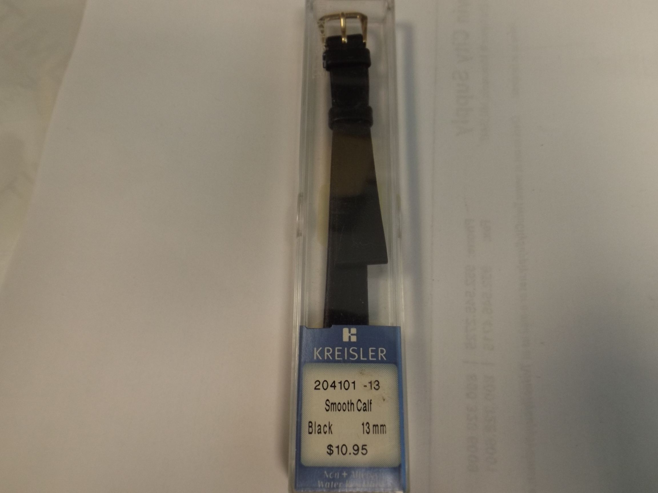 K204101-13MM Kreisler Watchband- Black Smooth Calf with Yellow Buckle-Closeout!
