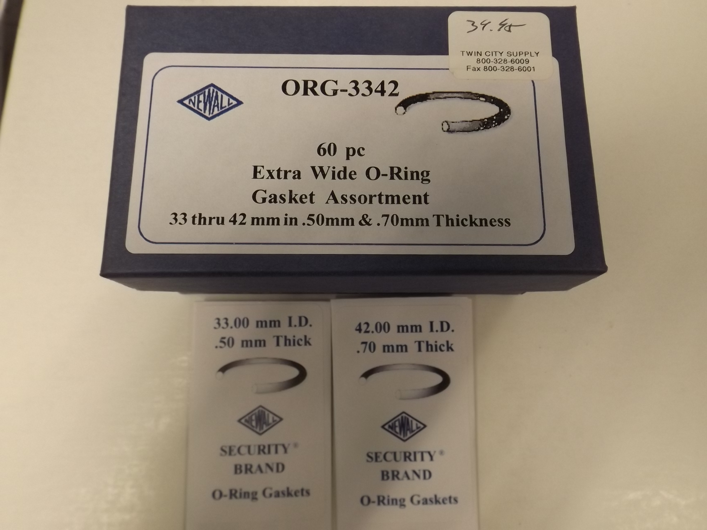 ORG3342 Extra Wide O-Ring Gasket Assortment -60 pieces- Newall