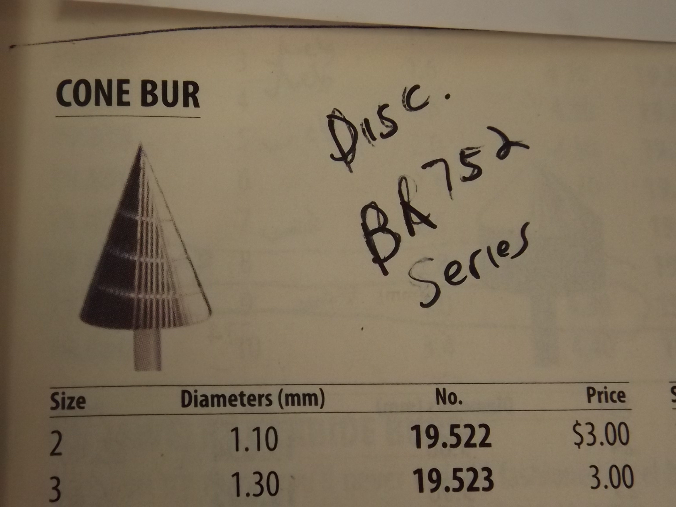 BR752/20 HI-Speed Burs-Cone-while supplies last- Grobet # 19.540