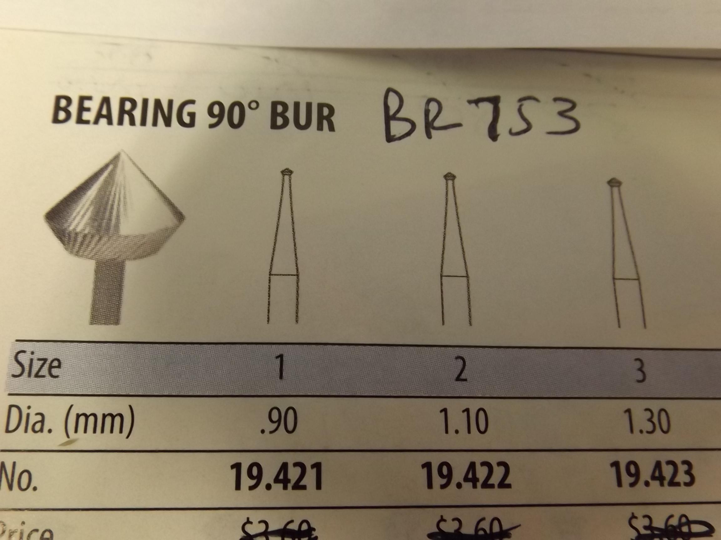 BR753/33 HI-Speed Burs- 90* Bearing Grobet # 19.453