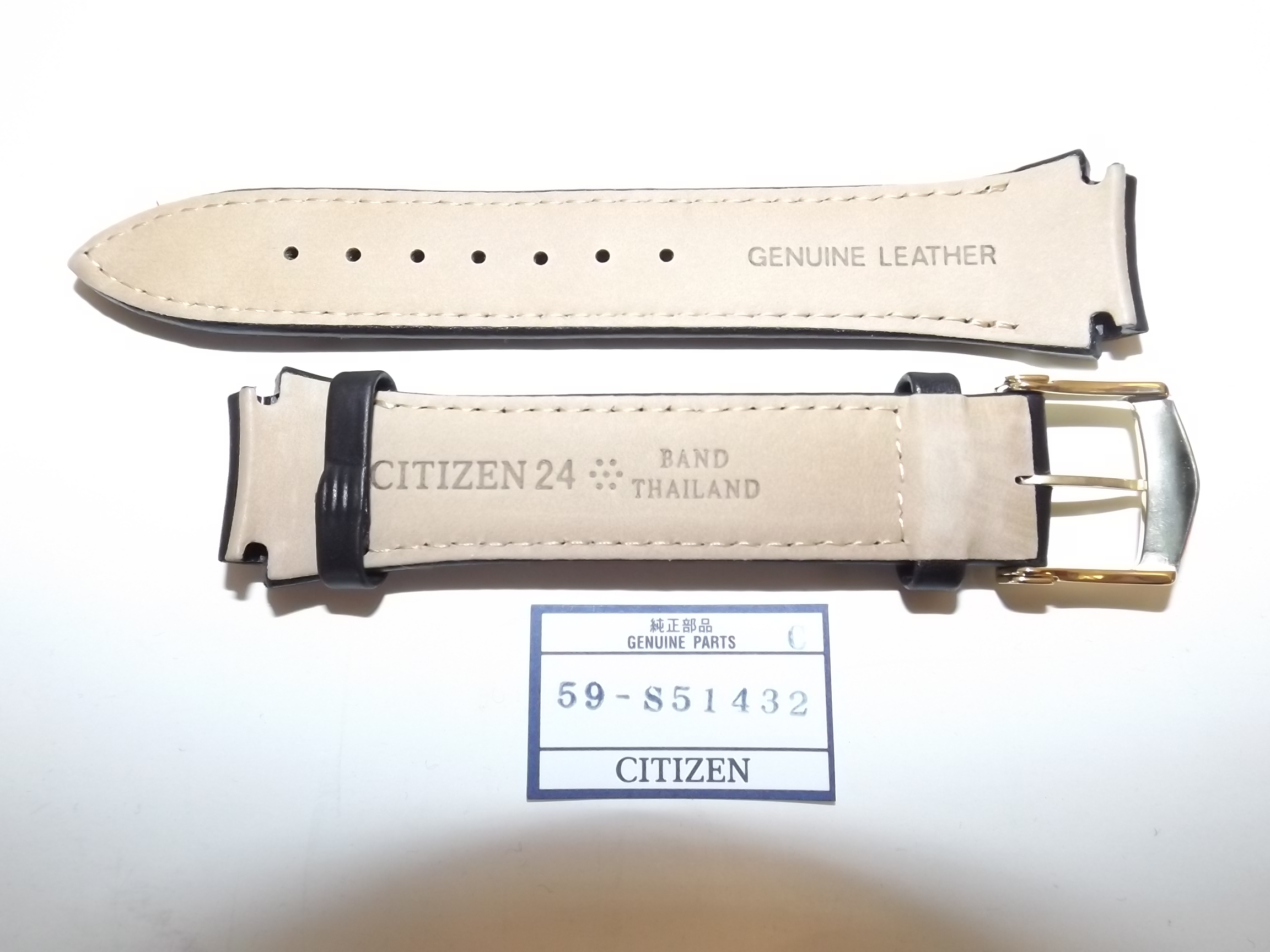 """59-S51432 Citizen Black Genuine Leather Watchband-24mm """"Eco-Drive"""" -1 Only"""