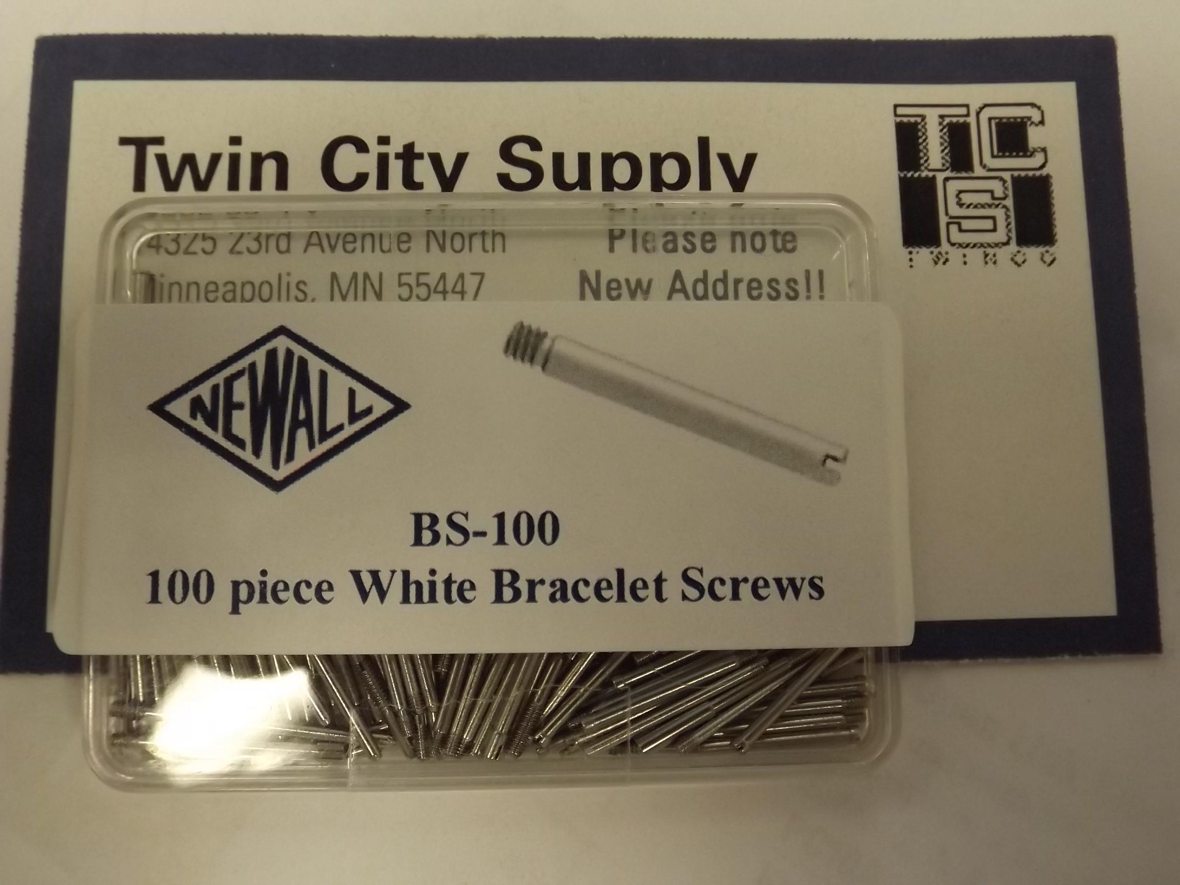 BS100 Bracelet Screw Assortment--White- 100 pieces--Newall