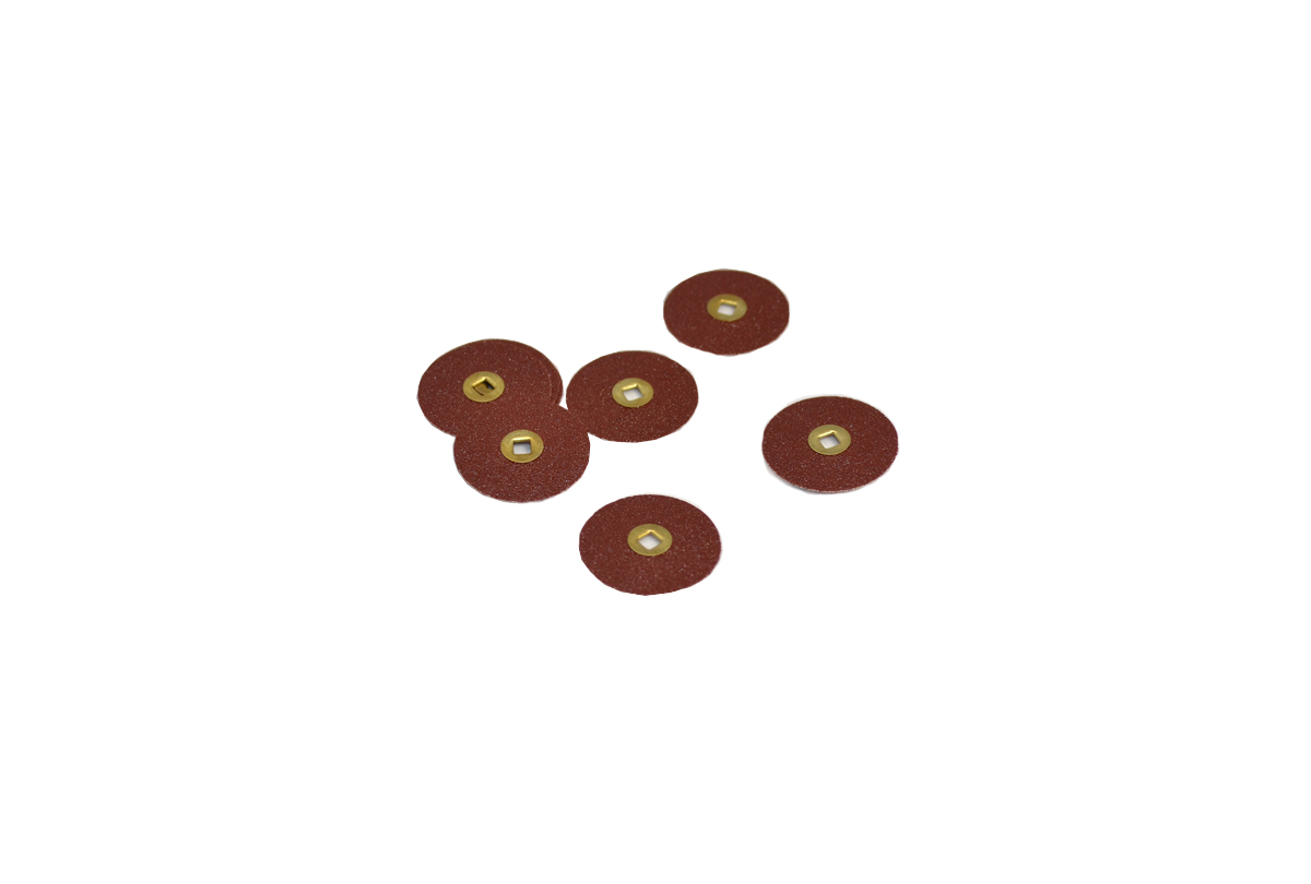 "ST1081 Adalox Sanding Discs, 7/8"" Diameter, Medium Grit, Aluminum Oxide, Brass Center, Item No. 10.01081"