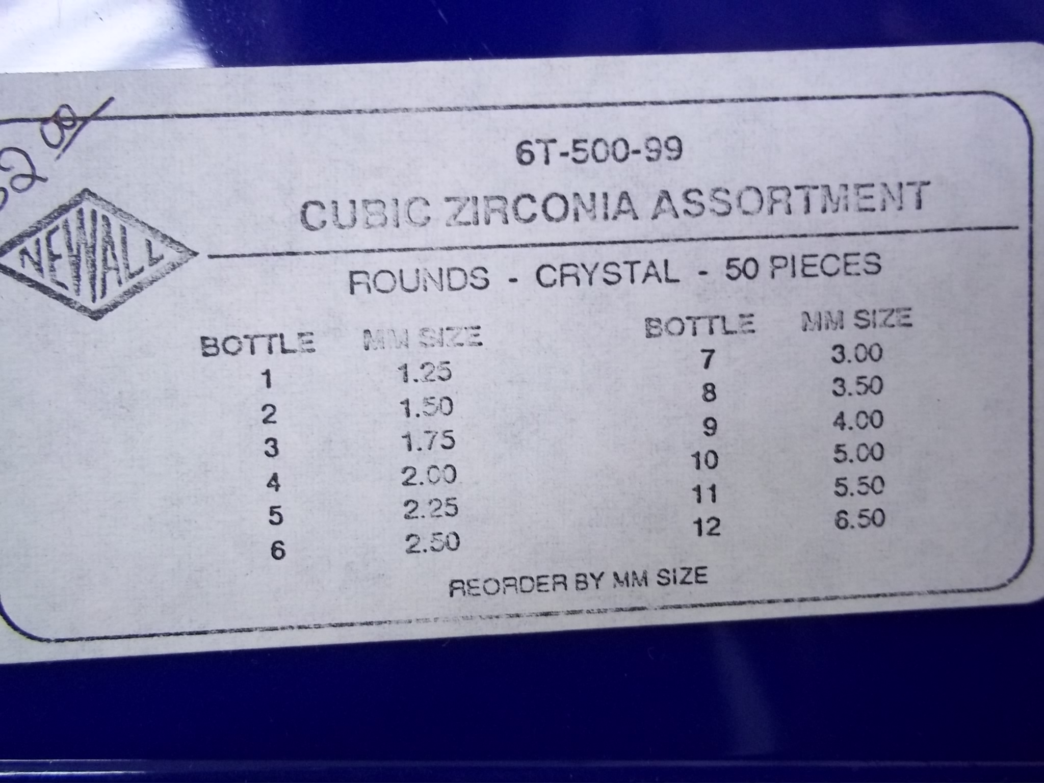 CZ-6T-500-99 Cubic Zirconia 50 Piece Assortment-Crystals-Round