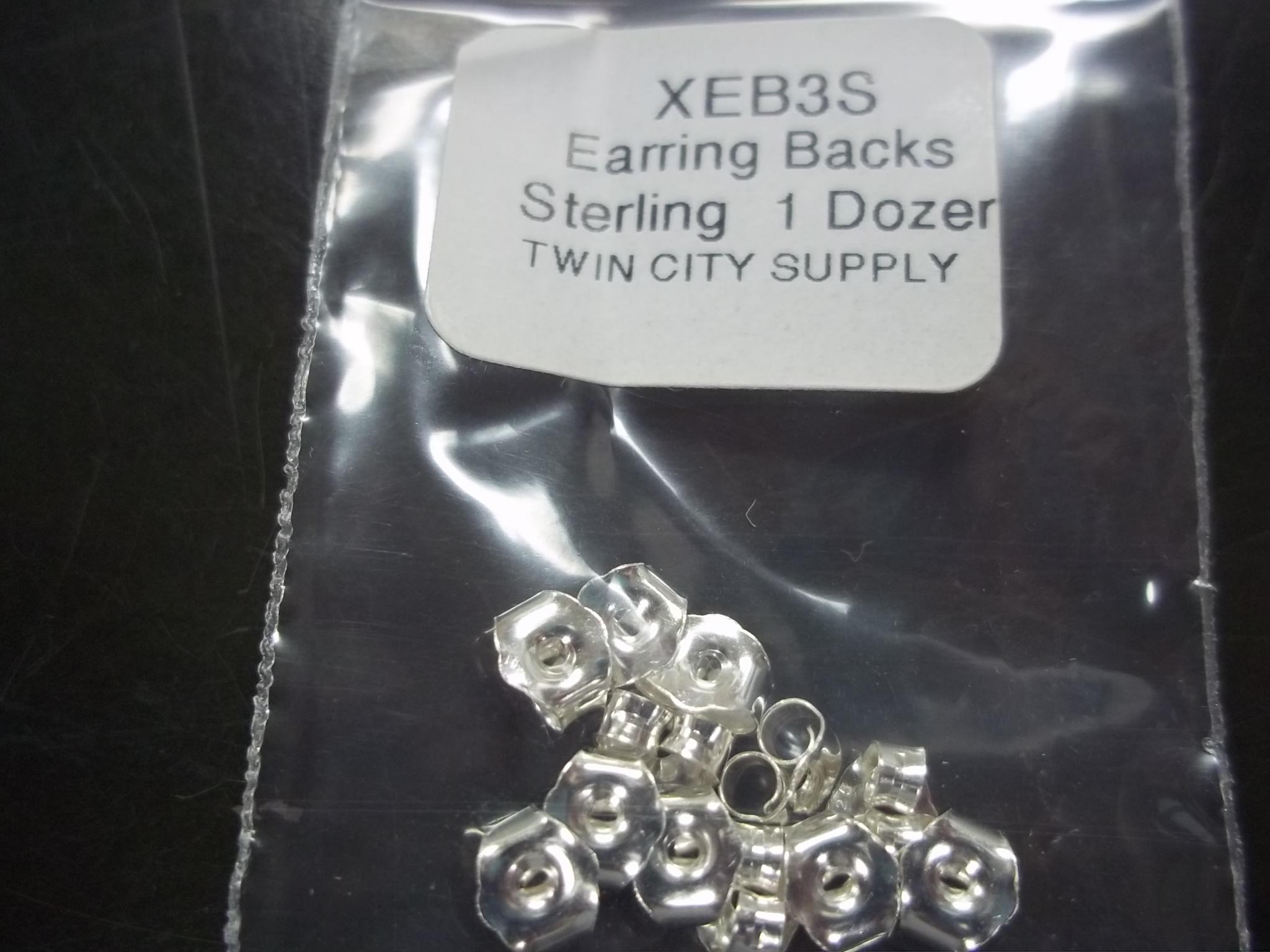 EB3S-Earring Backs--Sterling 1 dz pkg Medium Weight
