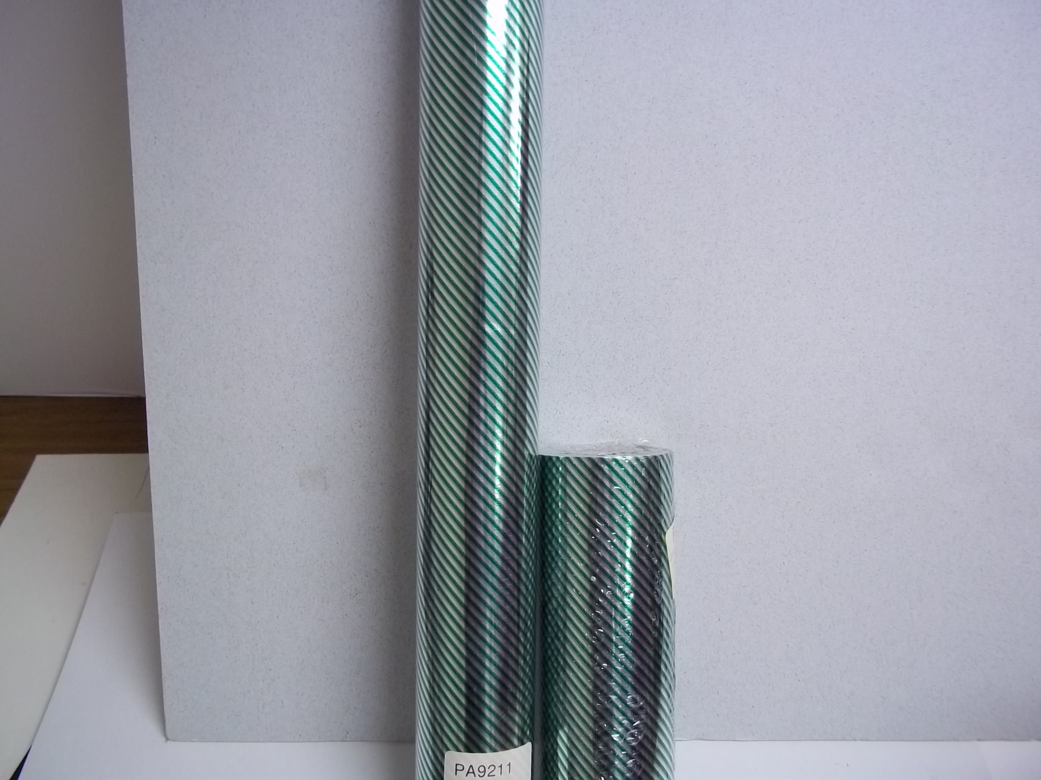 "PA9211 Silver with Green Pinstripe Foil Giftwrap 20"" x 100'--while supplies last!"