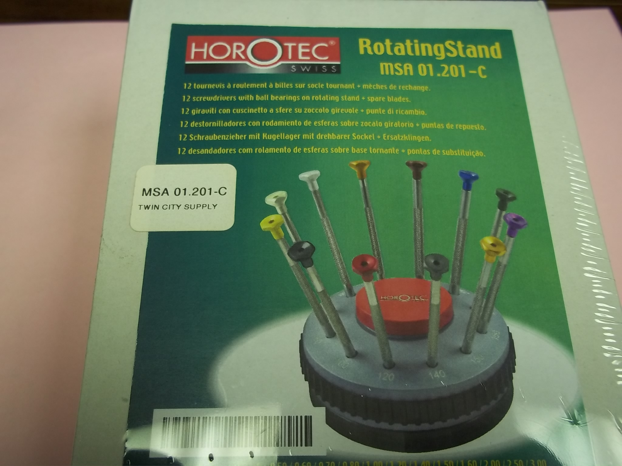 MSA01.201C Screwdriver set of 12 on Rotating Stand--SPECIAL ORDER-  Horotec