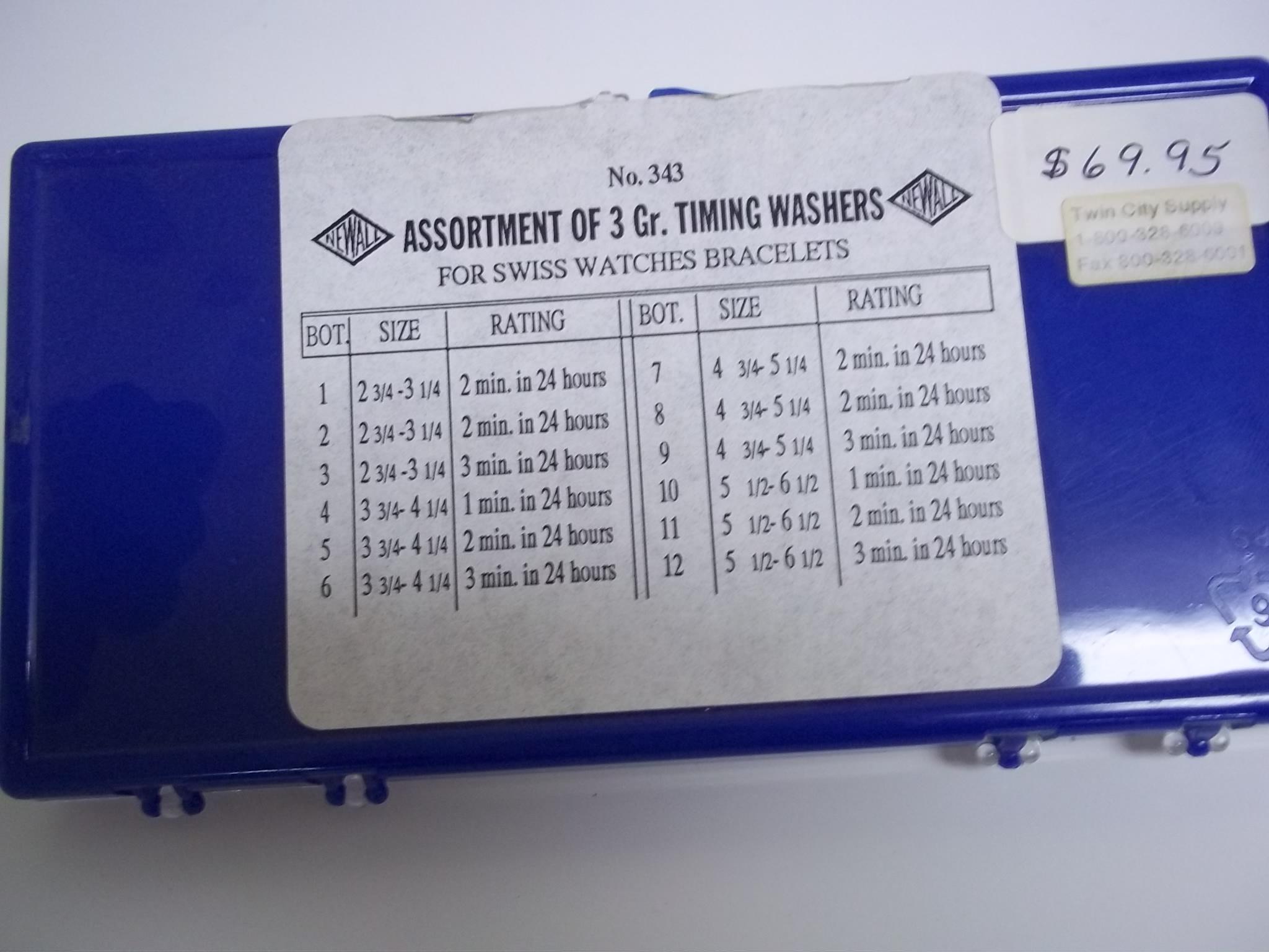 TWA343 Assortment of 3 gross Timing Washers- Newall