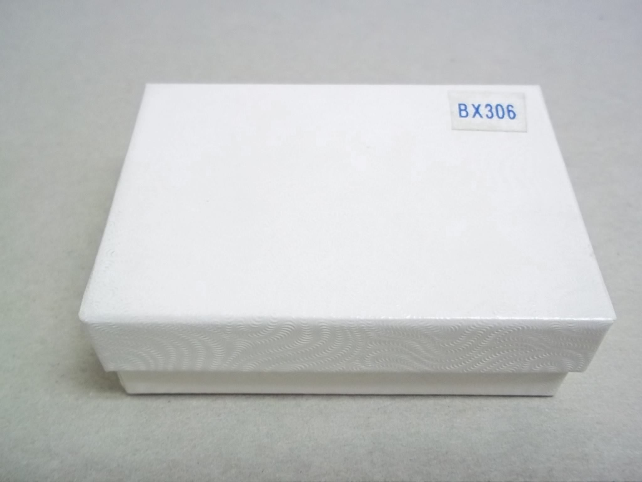 BX306 Cotton Filled White Swirl Earring Nest Boxes