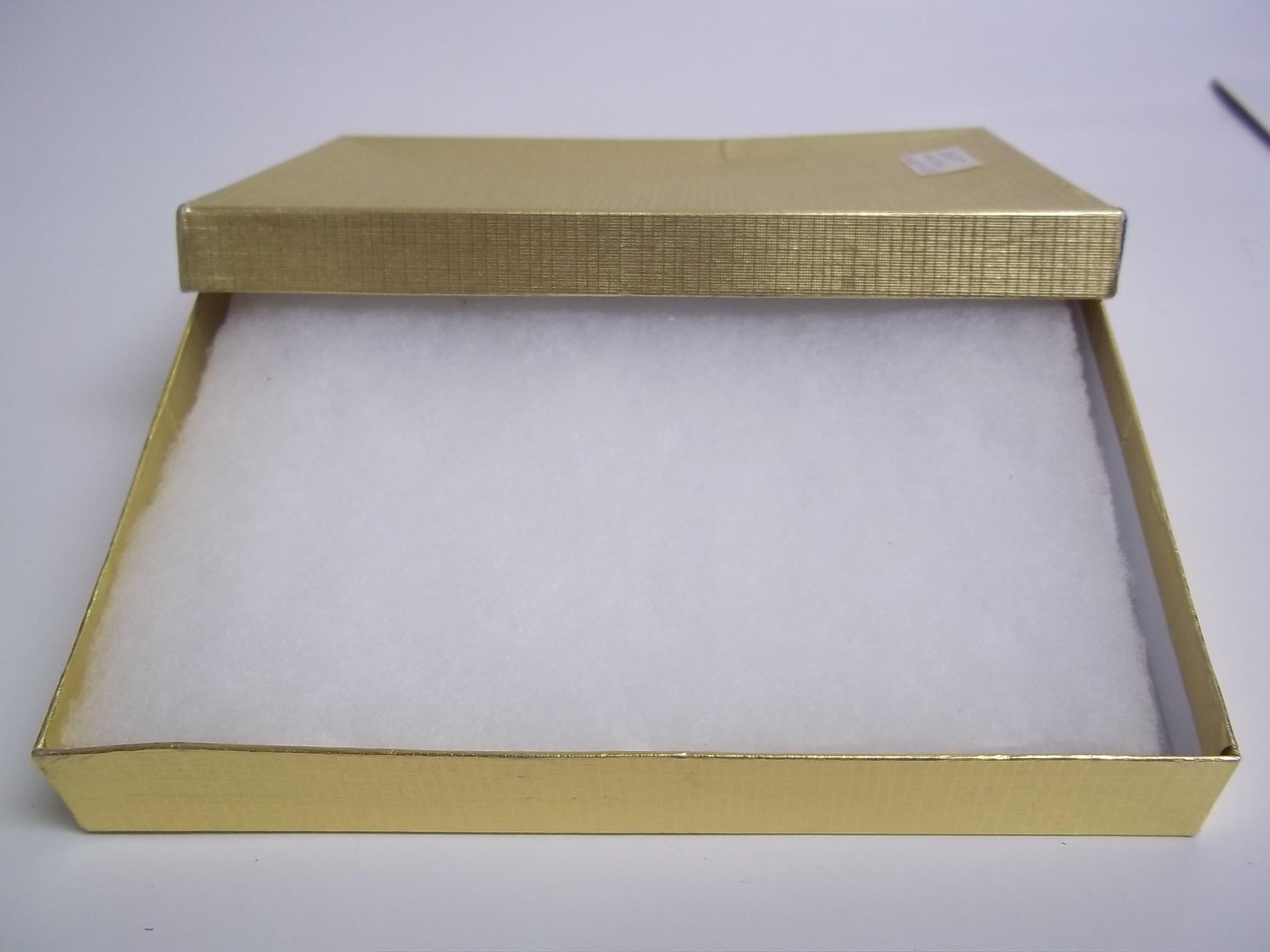 BX275 Cotton Filled Gold Linen Large Necklace Nest Boxes