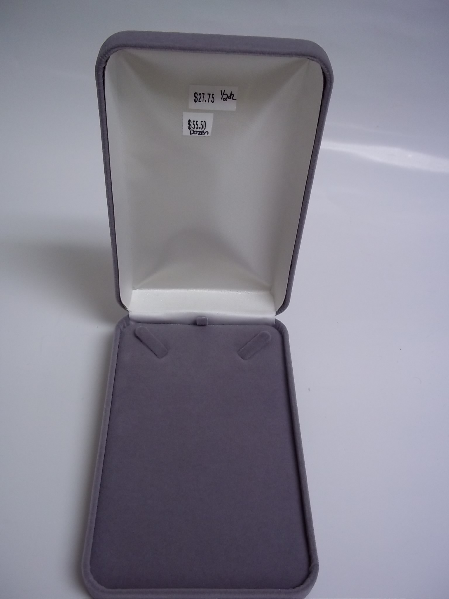 BX57N Necklace Boxes--GREY Velveteen  While they last!