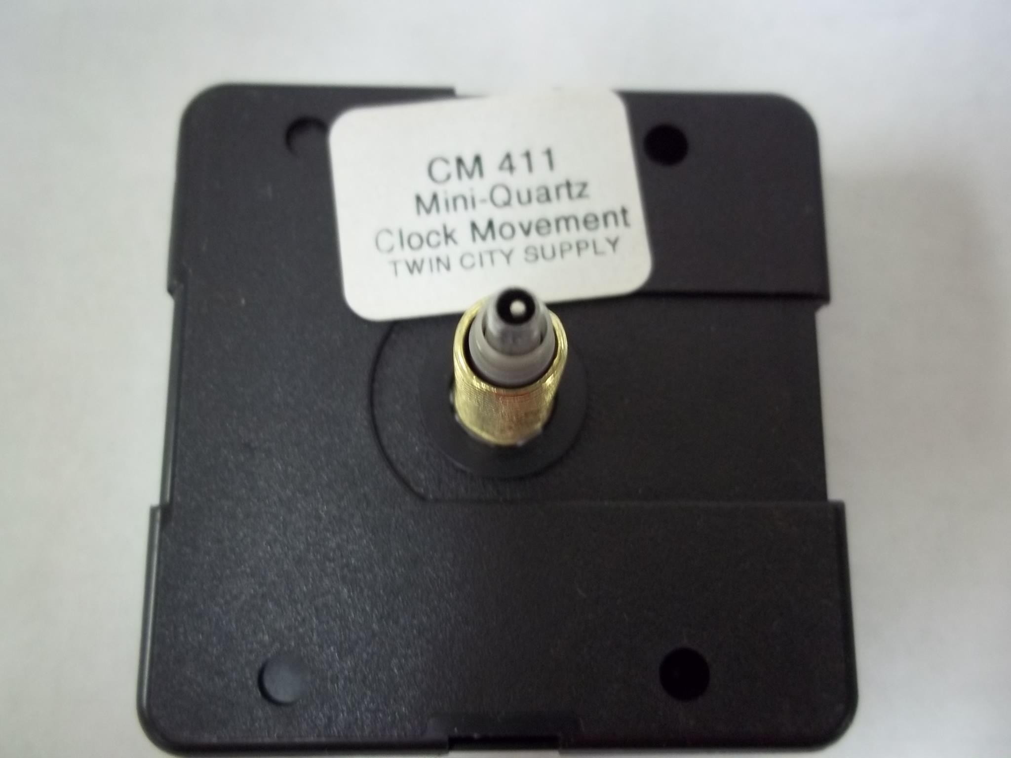 """CM411 Mini Quartz Clock Movements  7/8"""" Total Hand Shaft Length"""