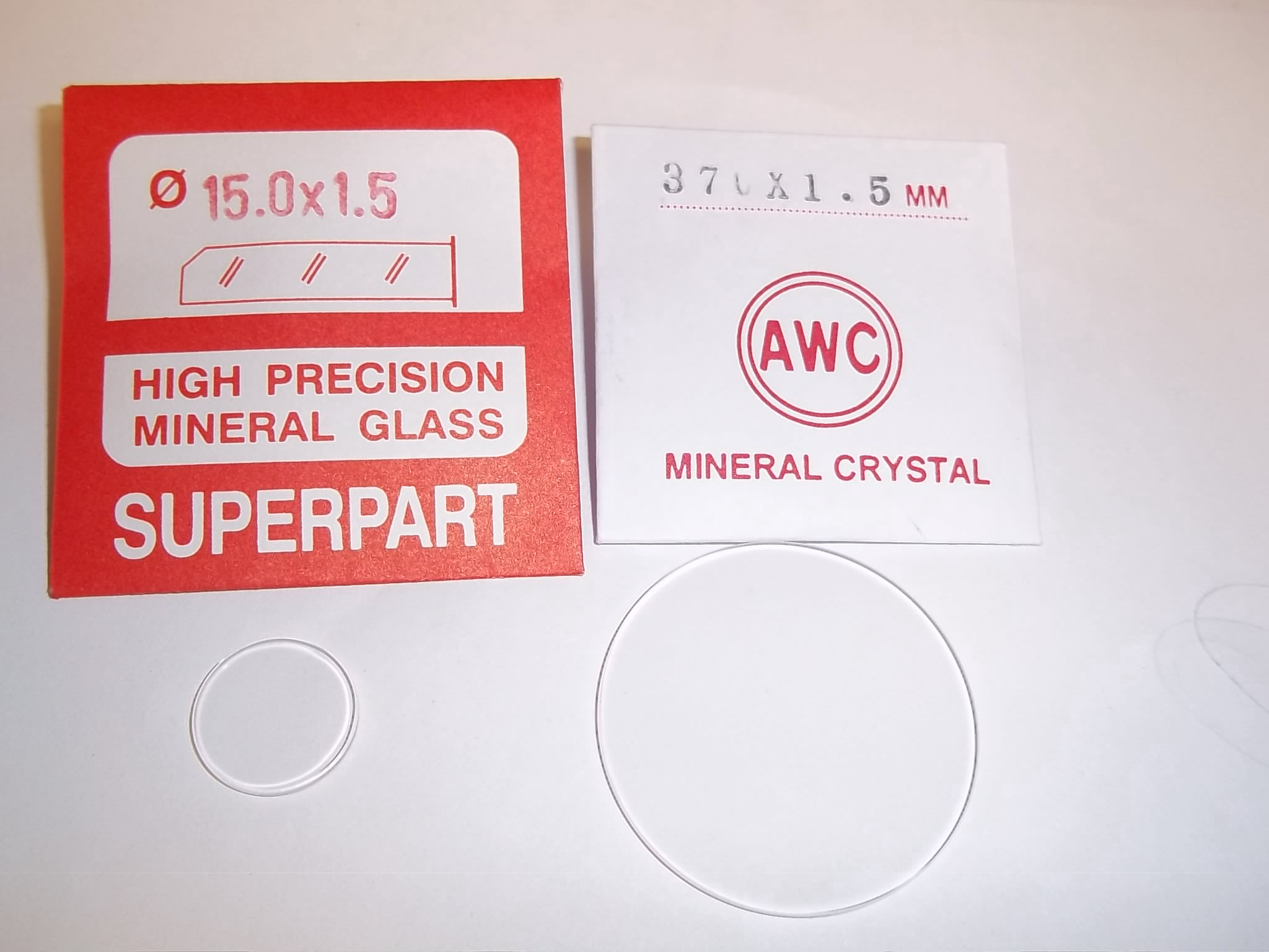 SMG15.0 to SMG37.0  Round Flat Mineral Glass Crystal 1.5mm thick