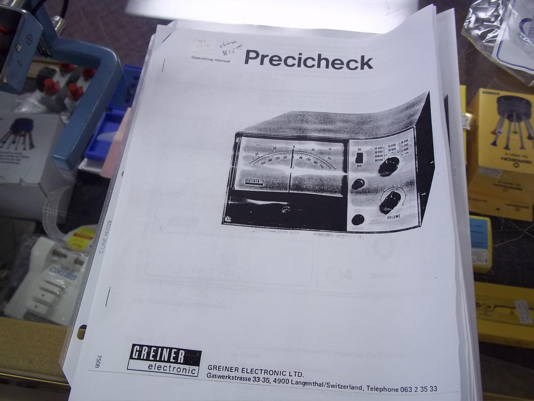 L&R/Greiner Precicheck Timing machine Manual