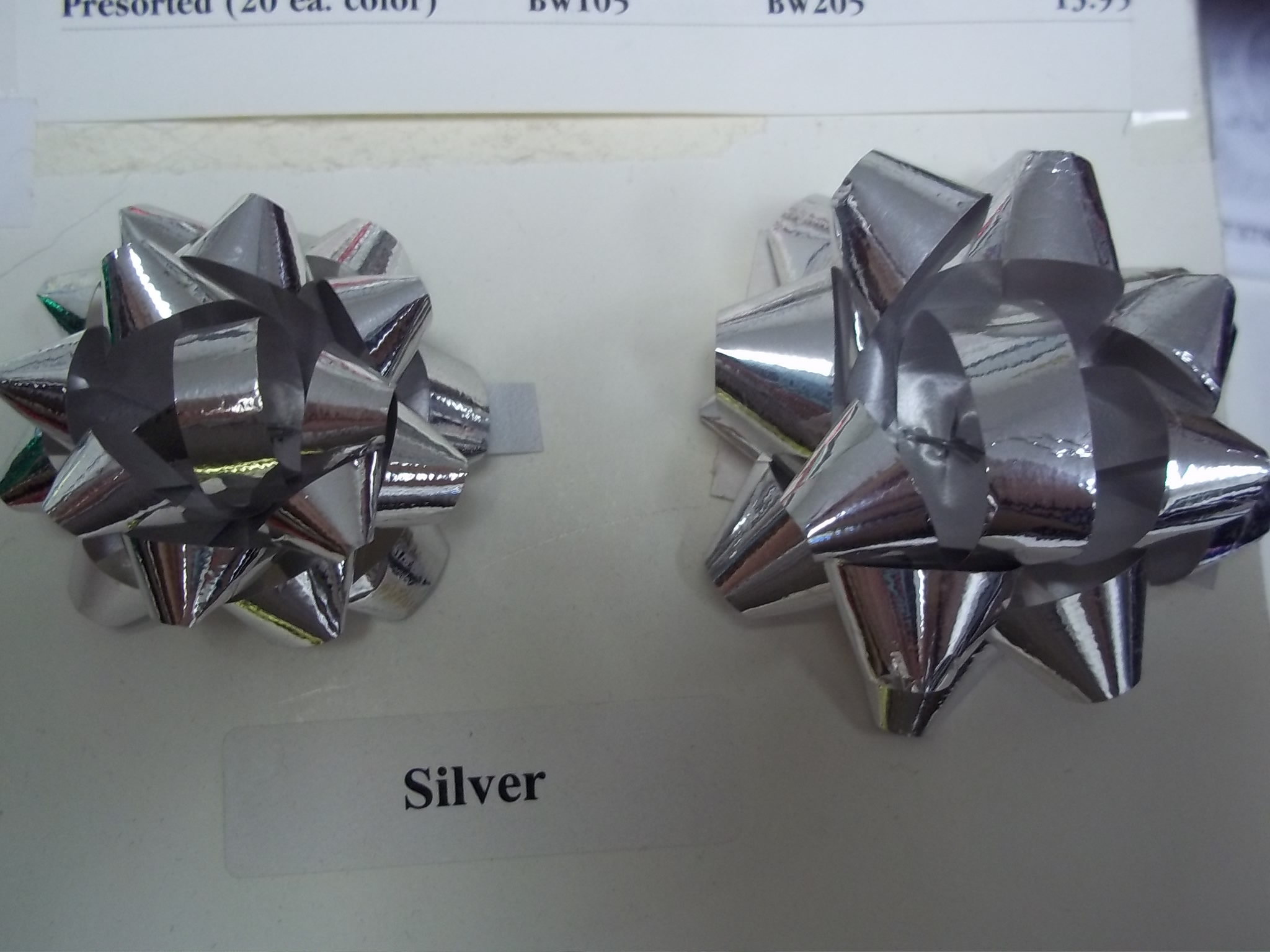 "BW211 Polystar Mini Metallic Star Bows 2"" pkg of 100 Silver"