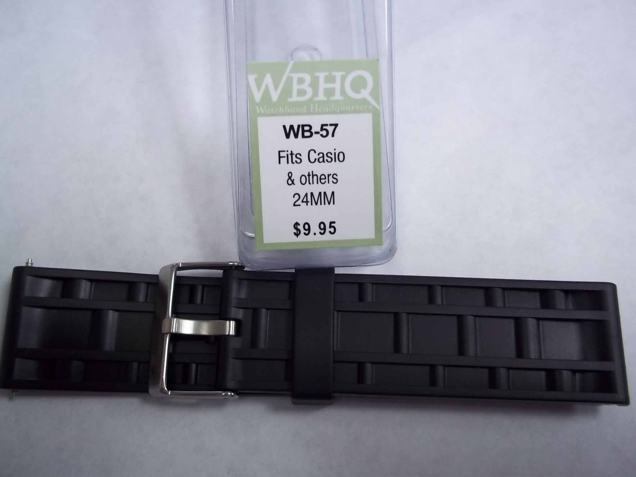 WB-57 Rubber strap 24mm--fits Casio & others--New!