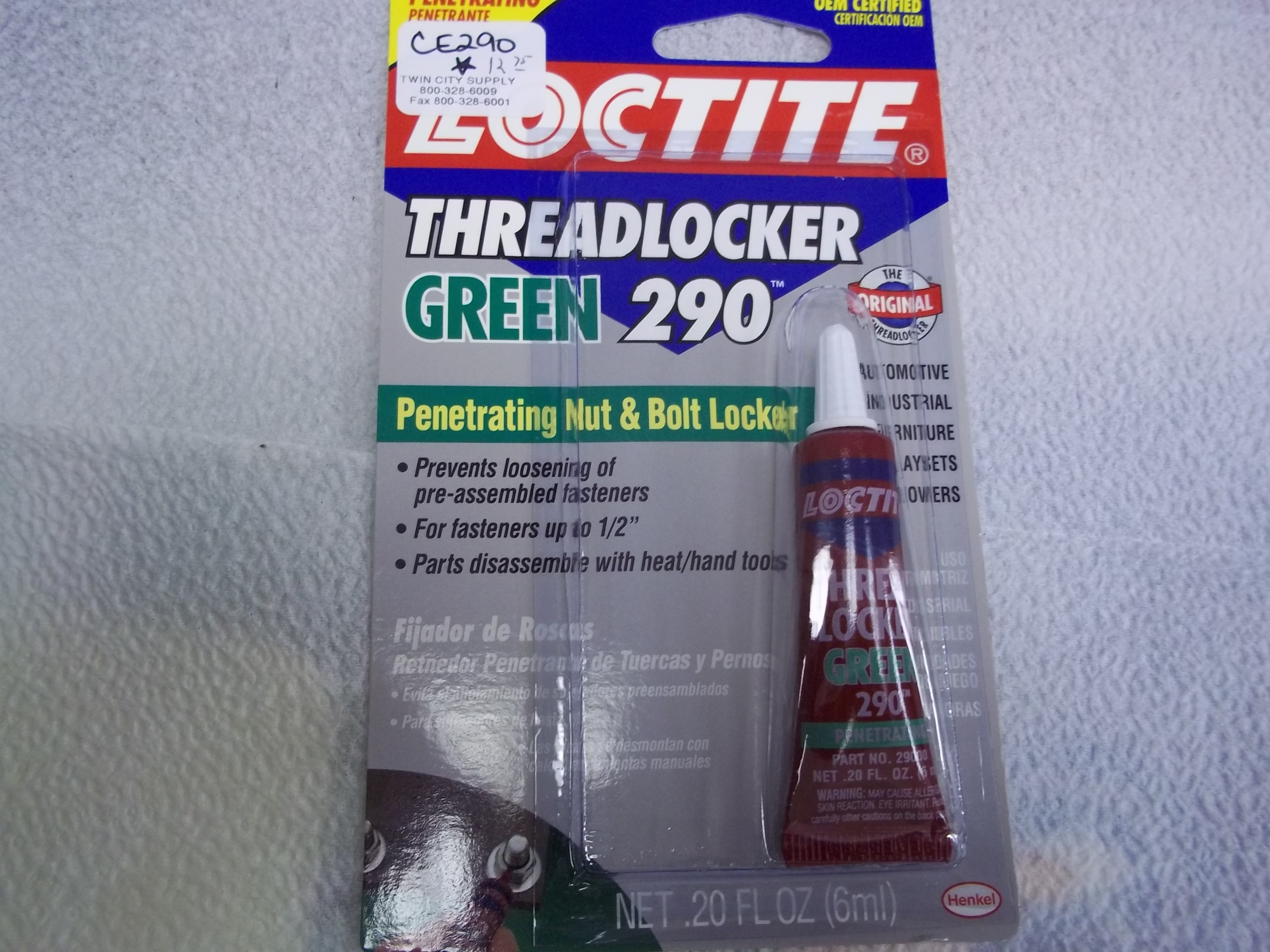 CE290 Loctite threadLocker Green 290