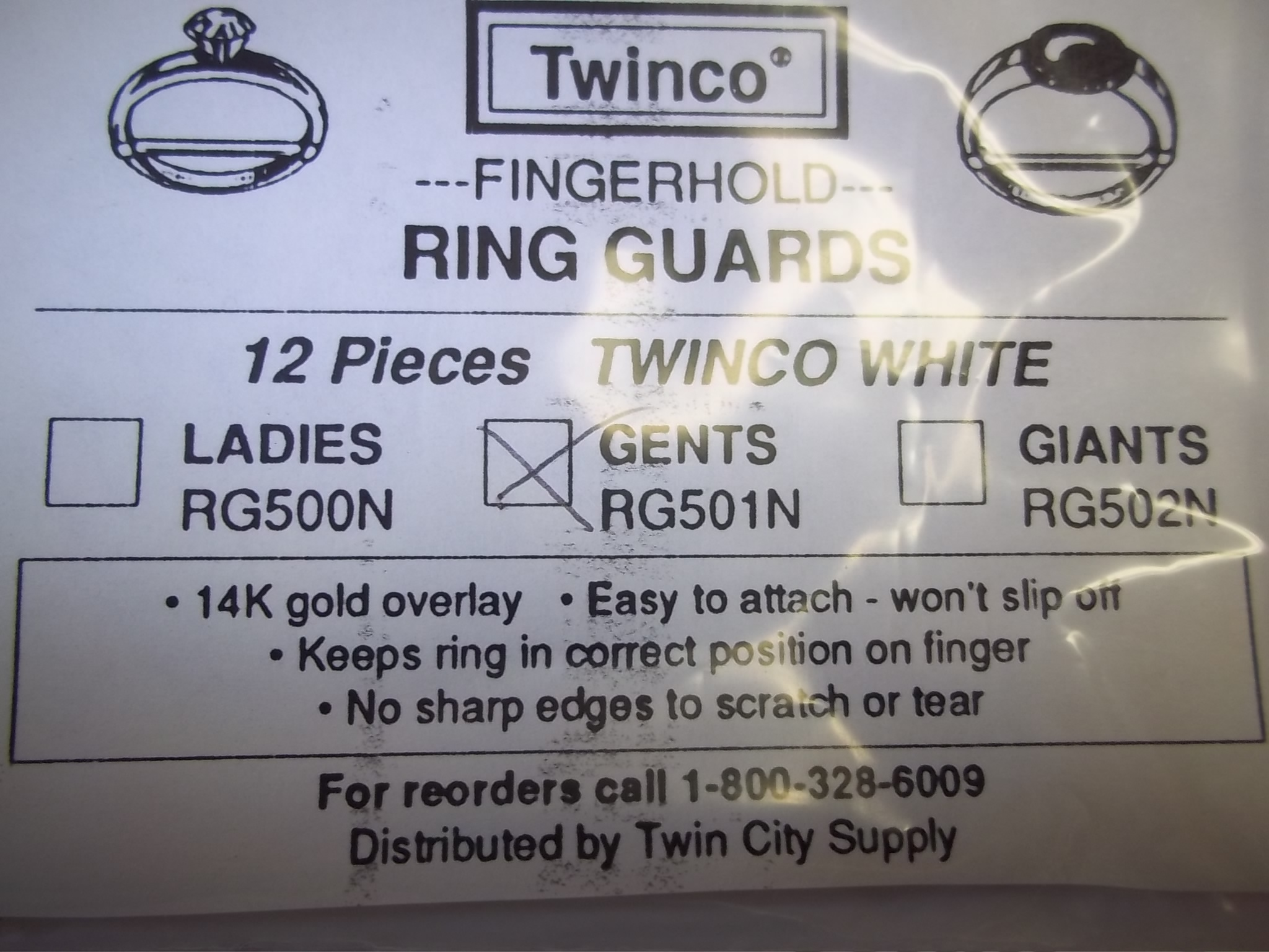RG501N Twinco --Fingerhold-- Ring Guards-- Gents White