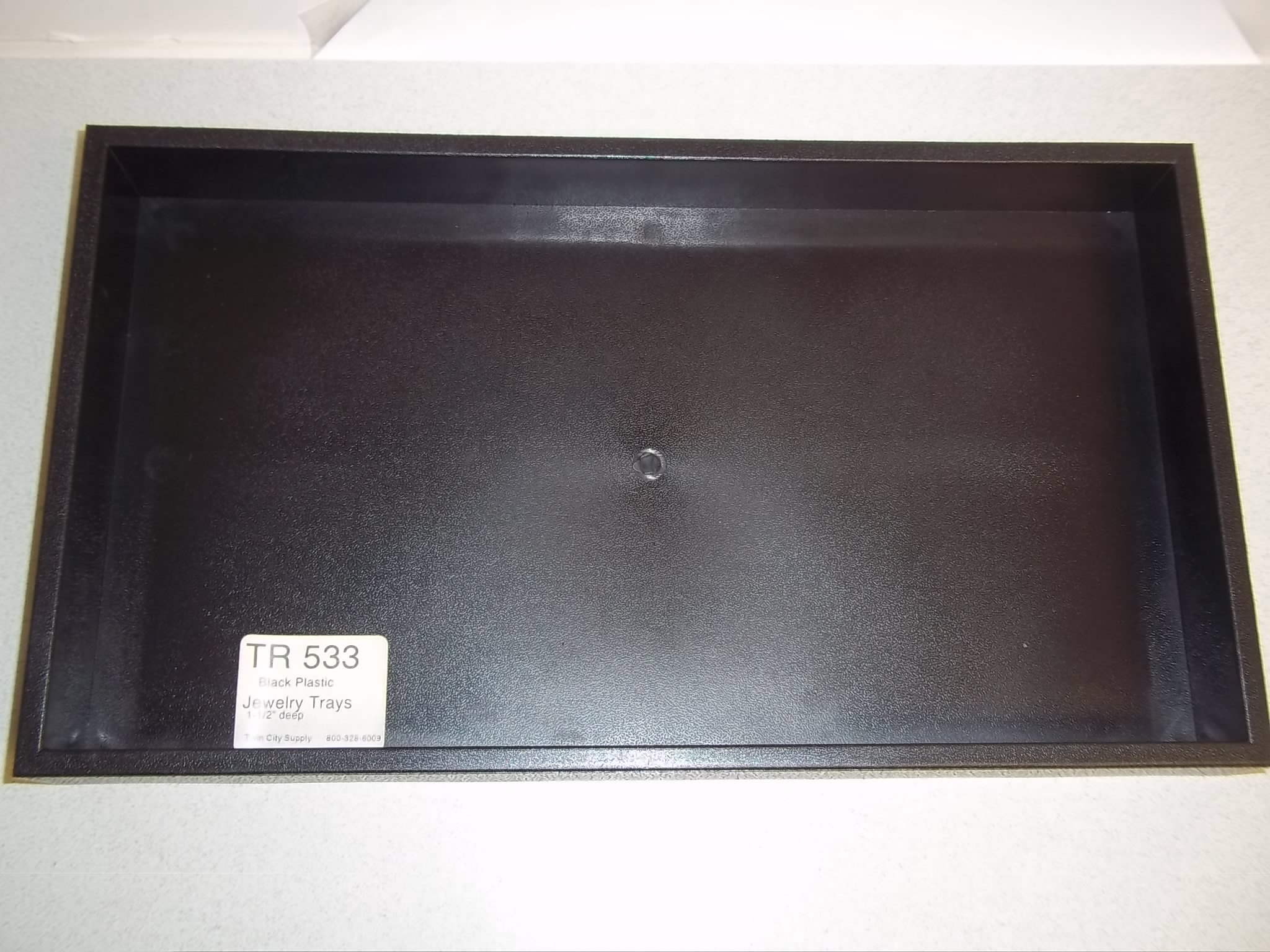 "TR533 Black Plastic Stackable Trays 1 1/2"" deep"