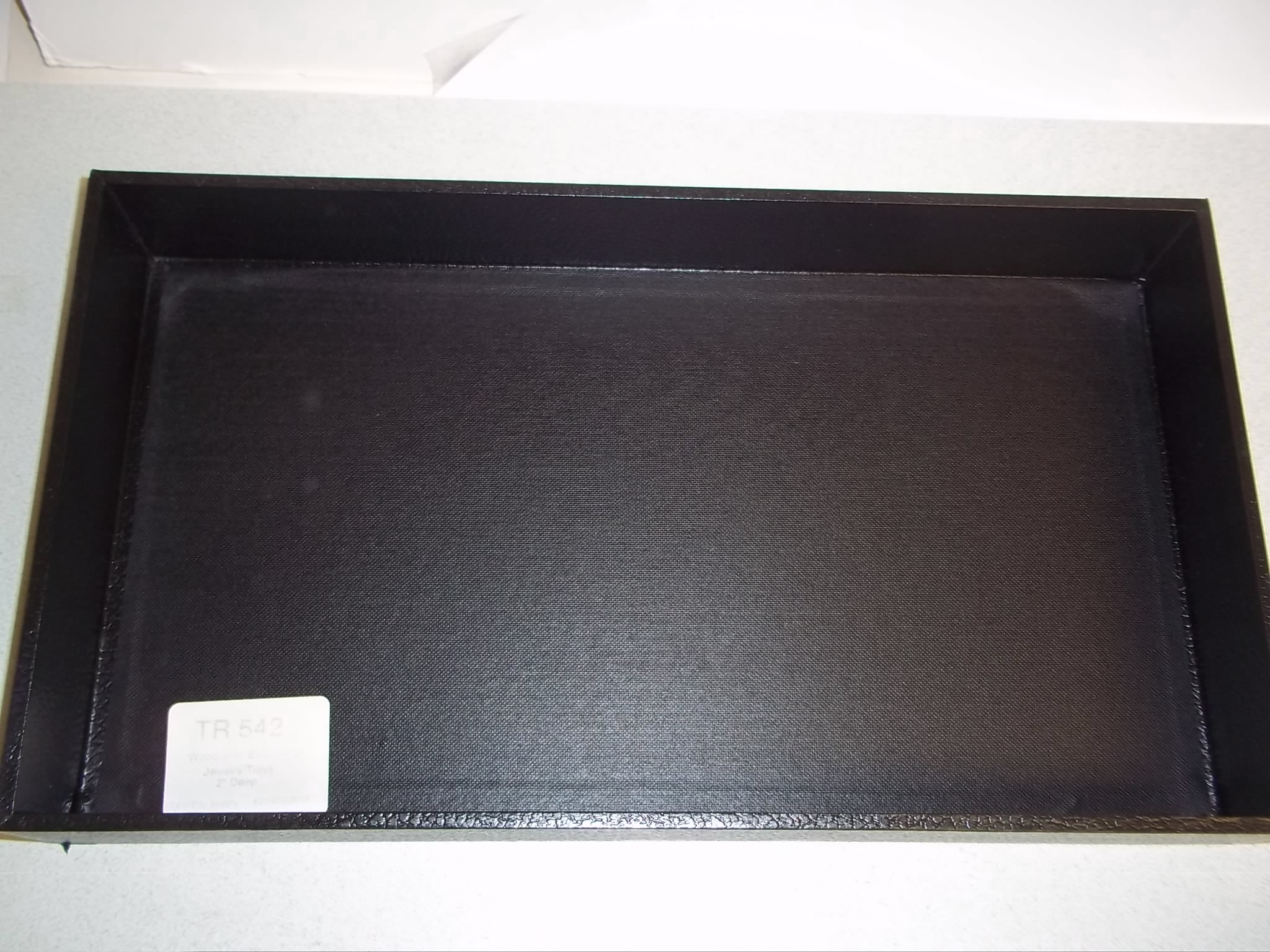 "TR542 Black Jewelry Trays- Wood frame with black Vinyl-- 2"" deep"