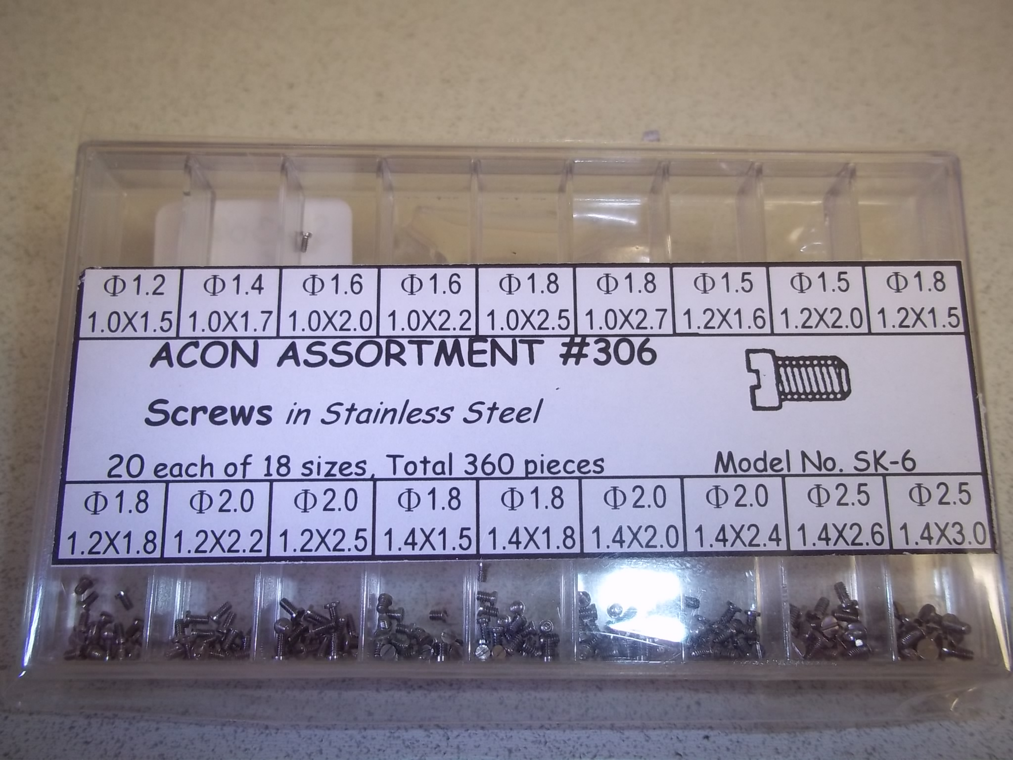 SC306A New! Assortment of Stainless Steel Screws--360 pieces- Acon