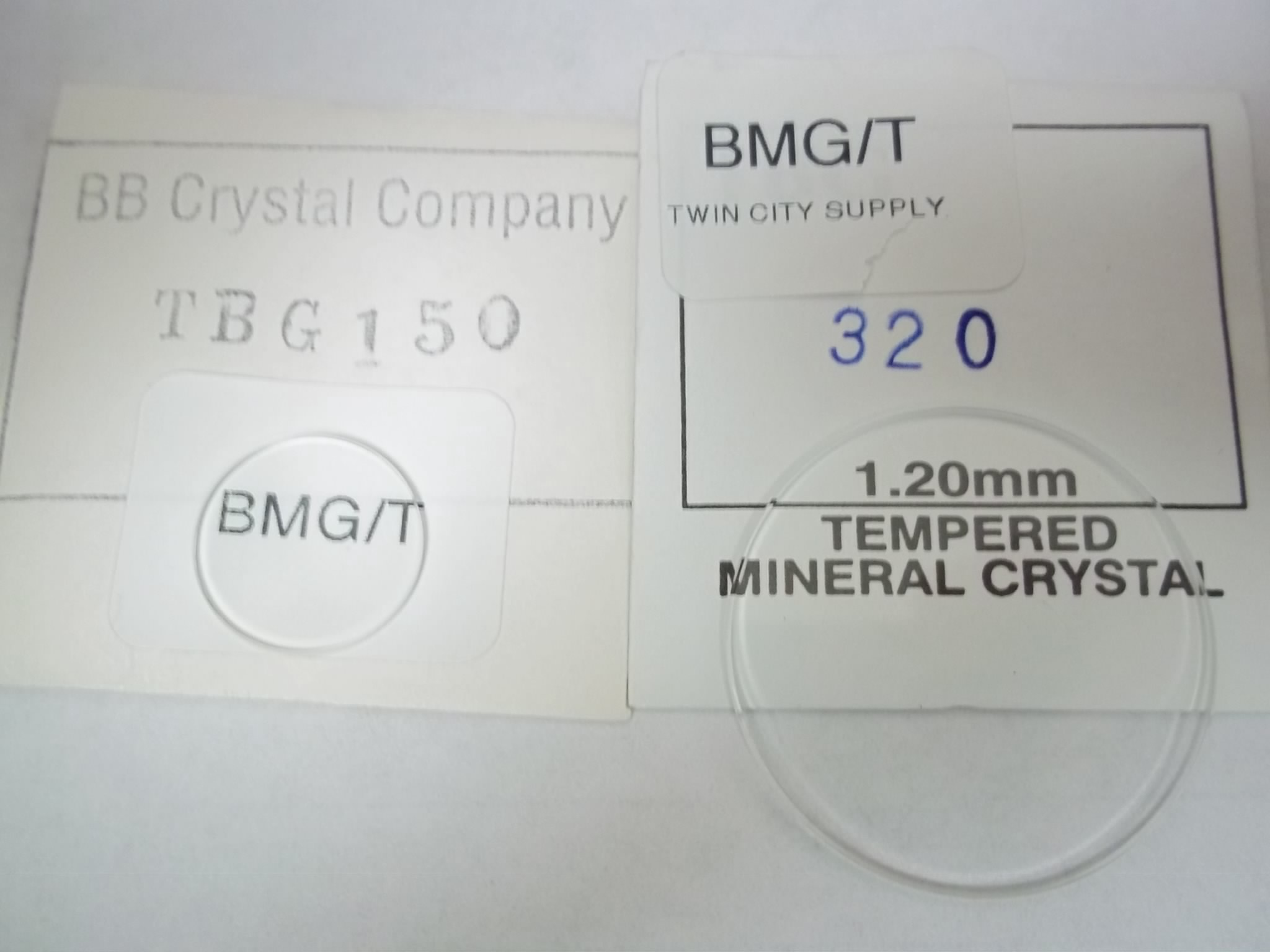 BMG/T 15.0 to 32.0 Round flat Mineral Glass Crystals 1.2 MM Thick Polished beveled edges