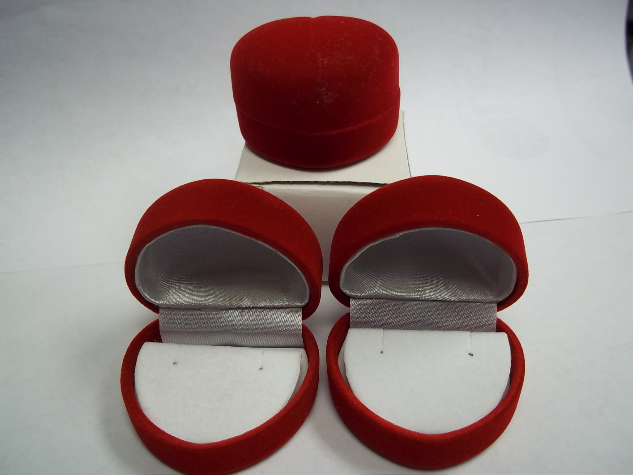 BXEAR  Red Heart Earring Boxes-Flocked --sold by the dozen