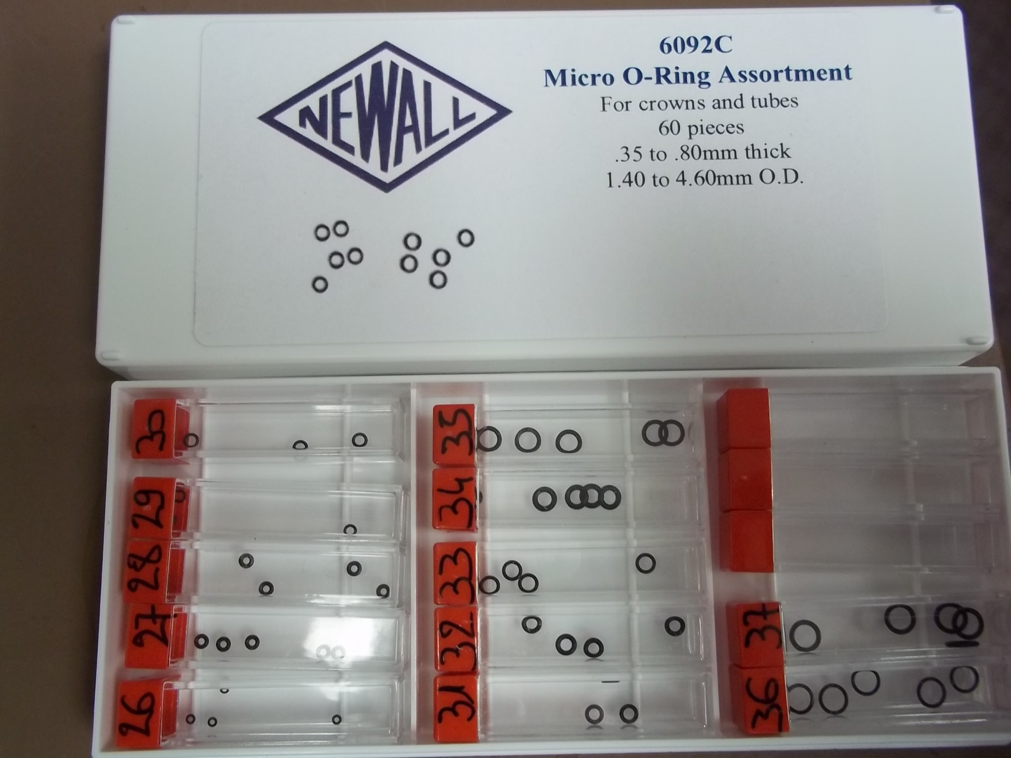 6092C Micro O Ring Gasket Assortment--60 pieces for crowns & tubes- Newall