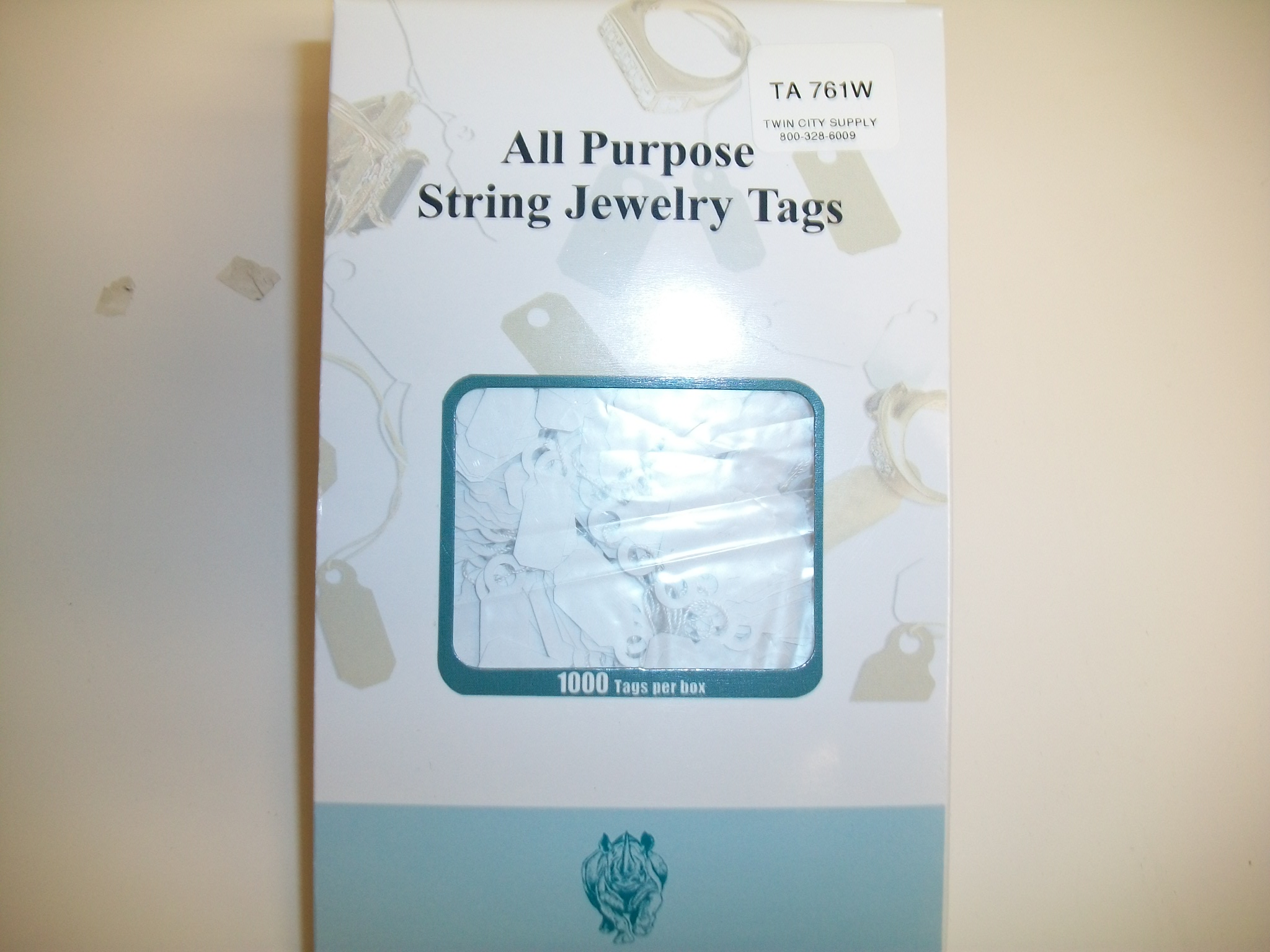 TA761W Jewelry String Tags--bx of 1000 Plastic White