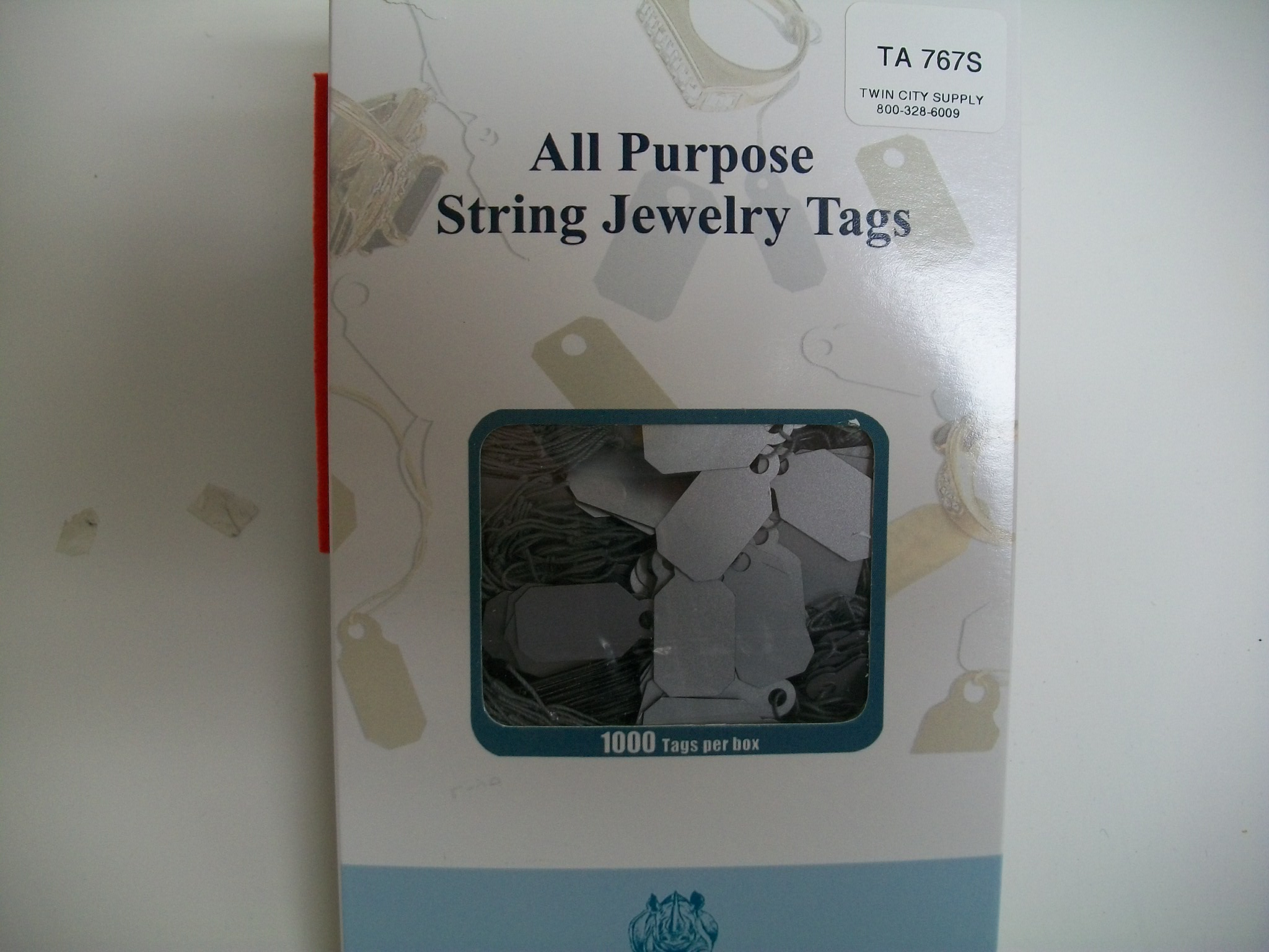 TA767S Jewelry String Tags--bx of 1000 Plastic--Silver