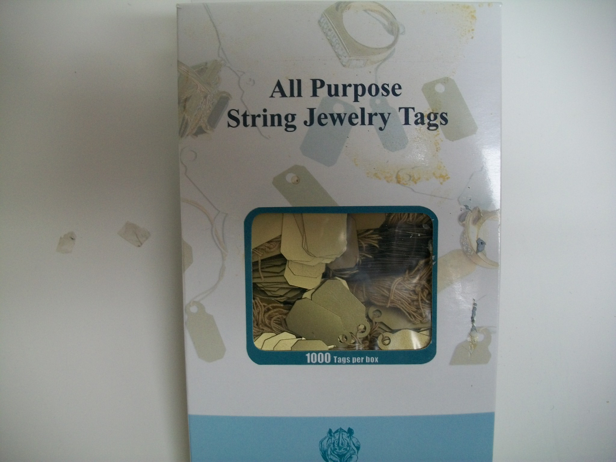 TA767G Jewelry String Tags--bx of 1000 Plastic--Gold