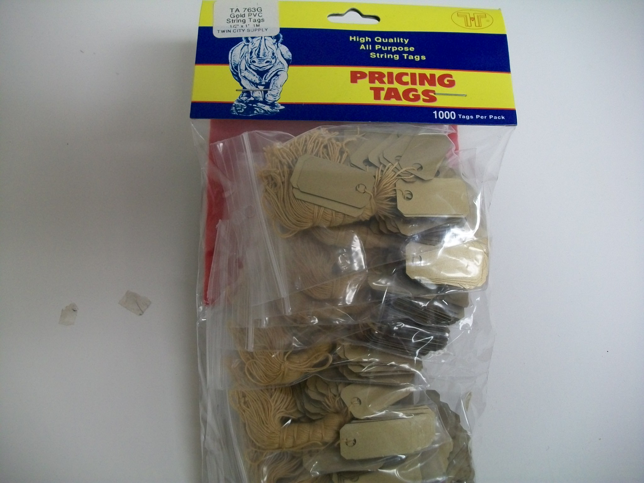TA763G Jewelry String Tags--bx of 1000 Plastic--Gold