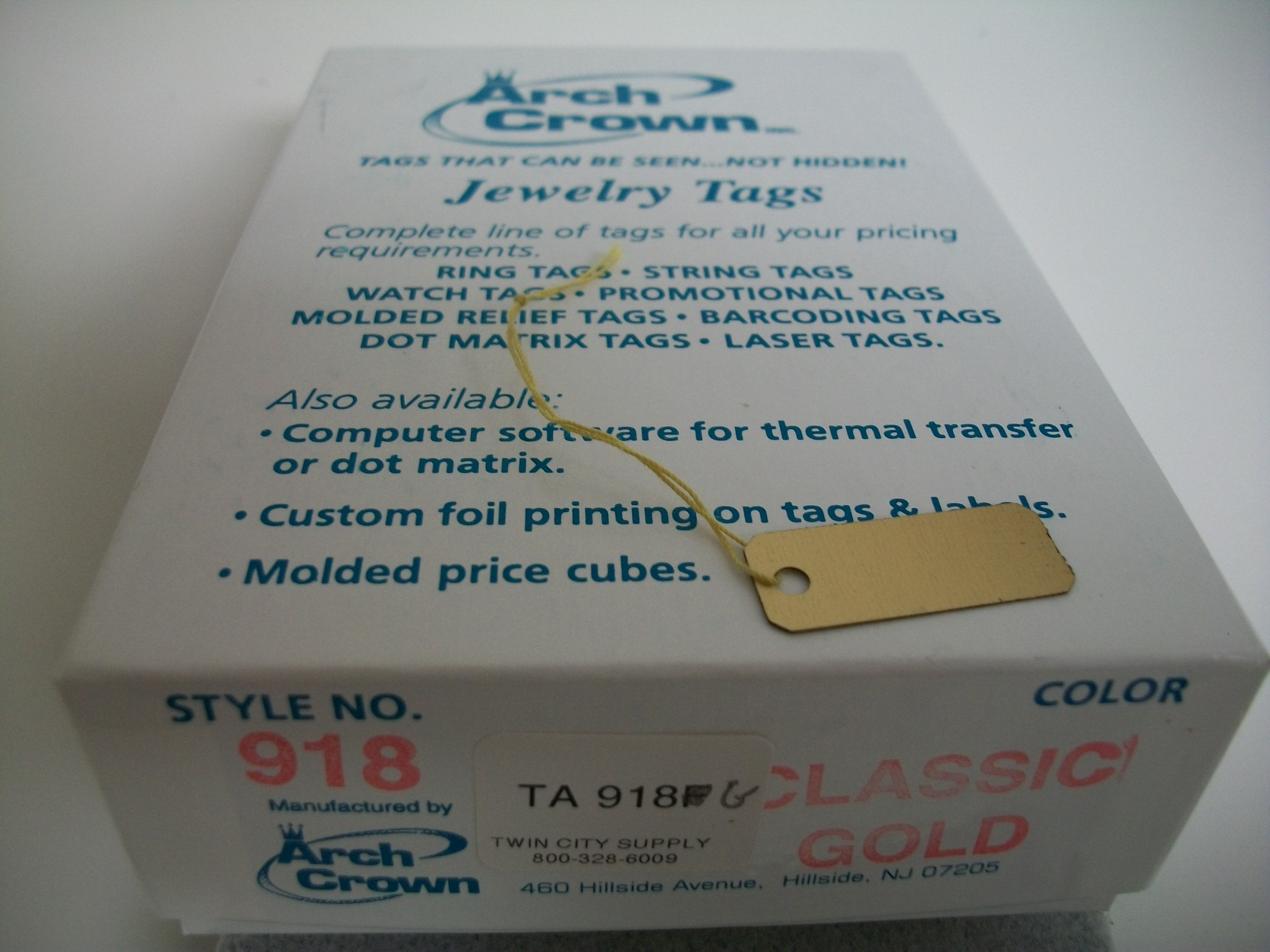 TA918G Arch Crown String Tags--Classic Gold Bx of 1000