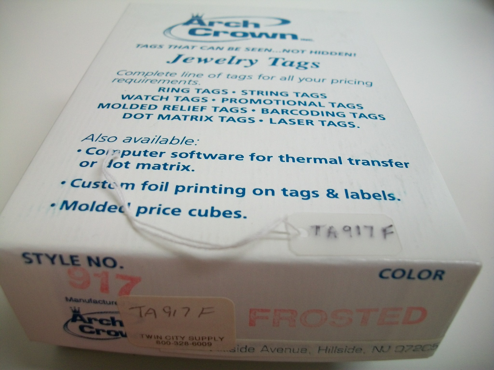 TA917F Arch Crown String Tags--Frosted Bx of 1000
