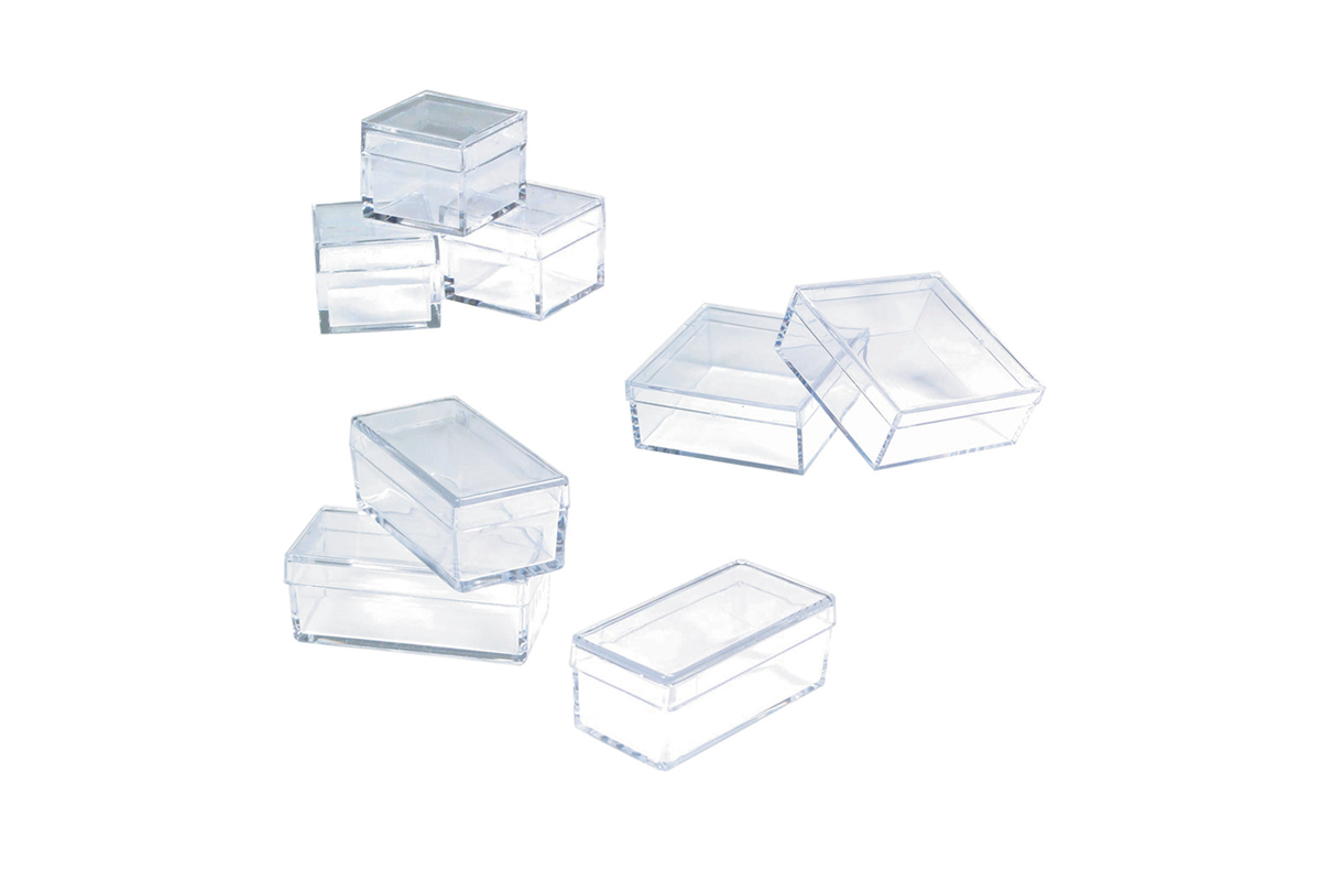 "BX111 Small Plastic Storage Box, 7/8"" x 7/8"" x 3/4"", Grobet # 15.130"