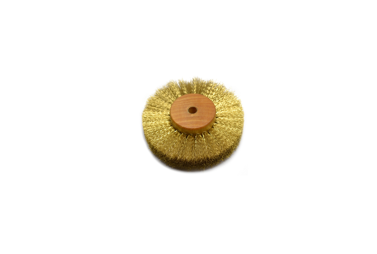 "BU659 Crimped Brass Wire Brush, 3 Rows of Wire, 3"" Diameter Grobet # 16.443"