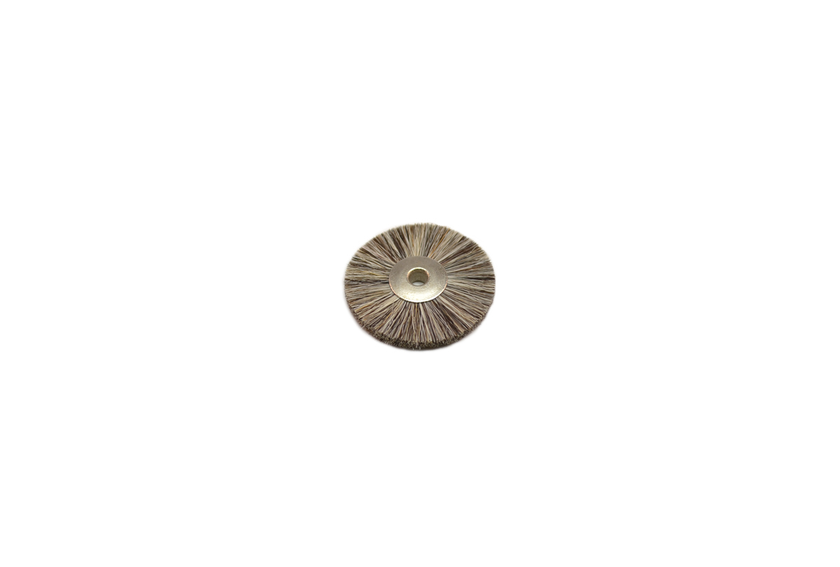 "BU1187 Soft Bristle Wheel Brush, 1-1/4"" Diameter 1/8"" Arbor Hole-Grobet # 16.652"