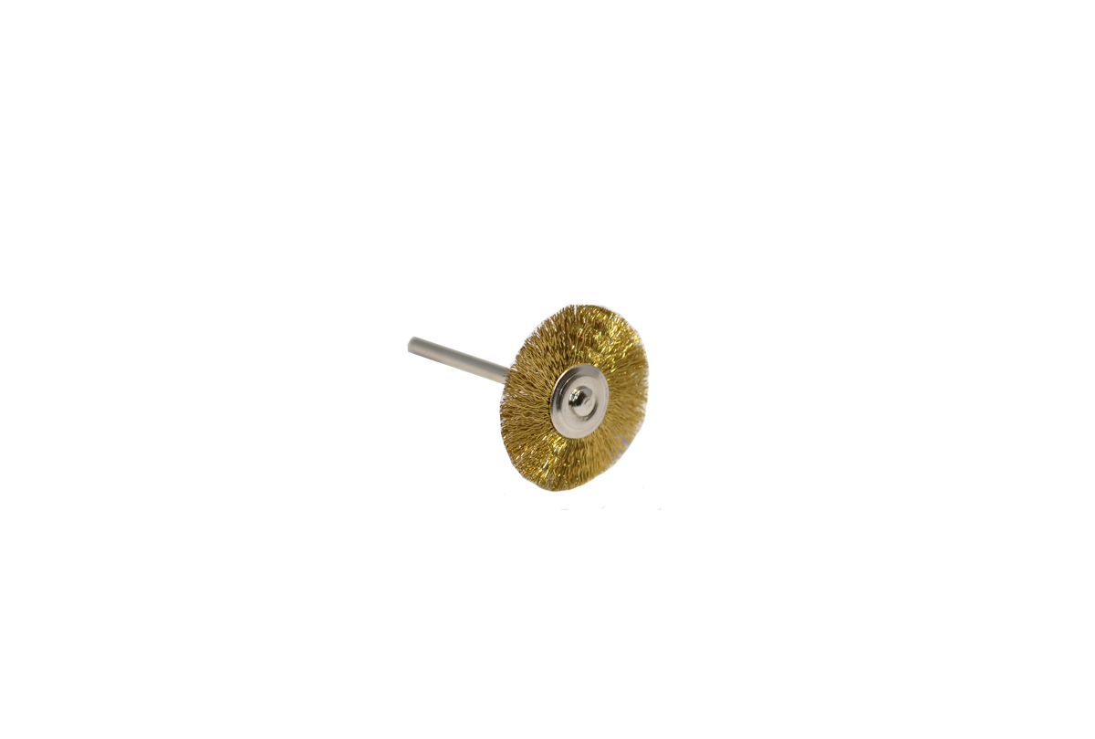 "BU1153 Crimped Brass Wire Wheel Brush, 1"" Diameter 3/32"" Shank Grobet # 16.814"