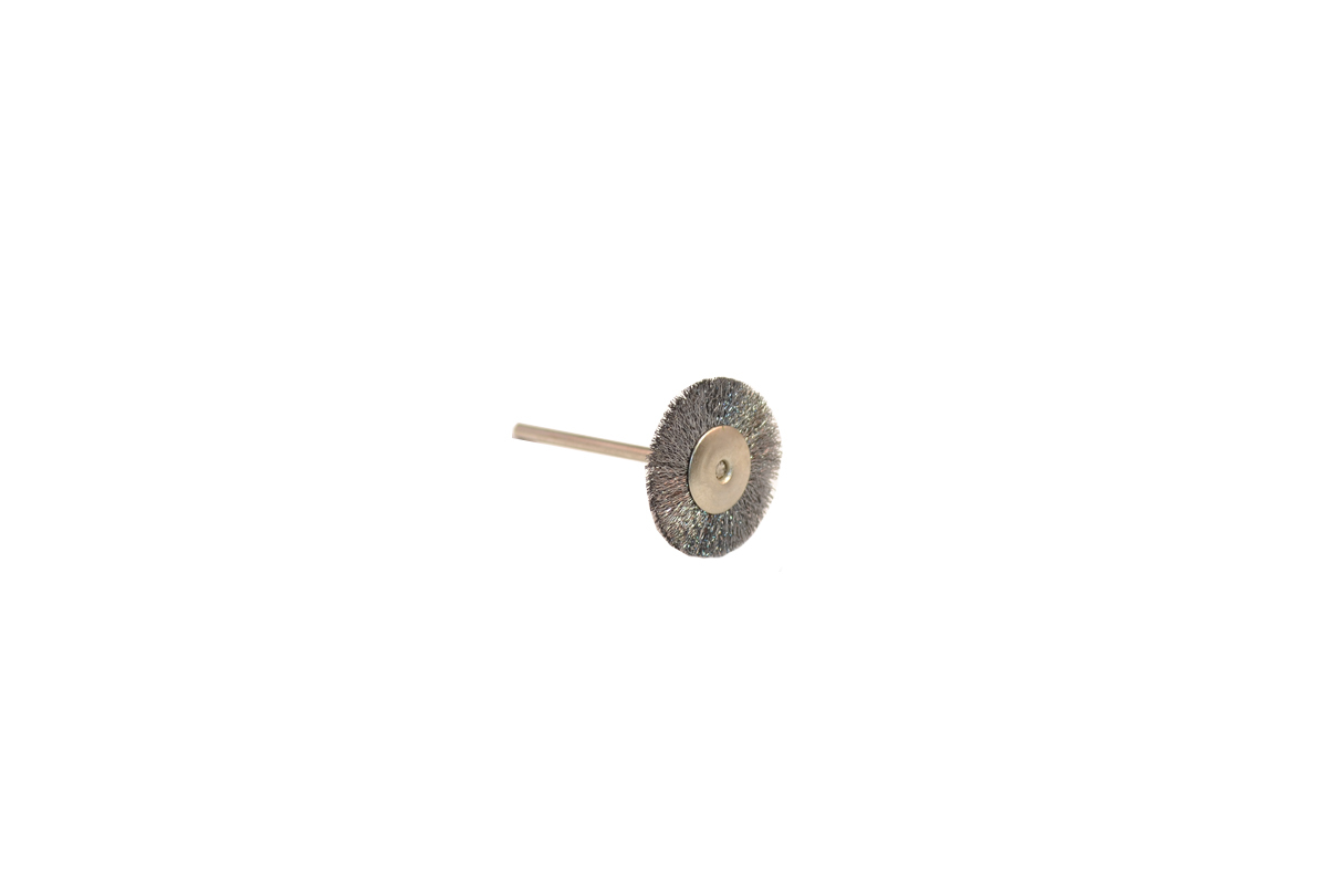 "BU1143 Crimped Steel Wire Wheel Brush, 1"" Diameter 3/32"" Shank Grobet # 16.849"