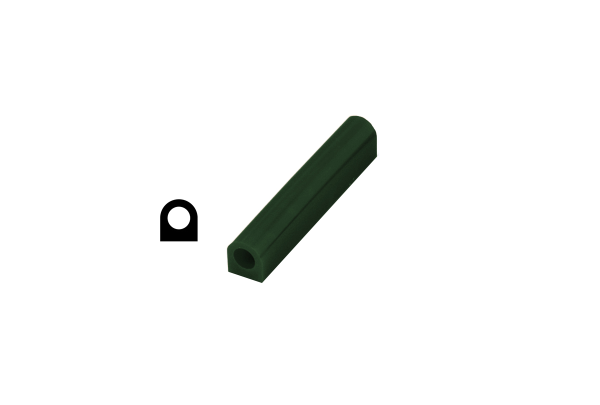 CA2698 Matt Ring Tube, Green, Flat Side with Hole, Grobet # 21.02698