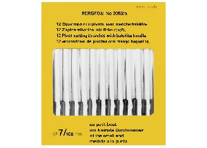 BR3008 Bergeon Assortment of 12 Pivots Cutting Broaches with Bakelite Handle