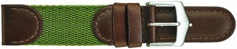 K380.8 Swiss Army Style Stitched Leather/Fabric Green/Olive Watch Bands-New! Alpine