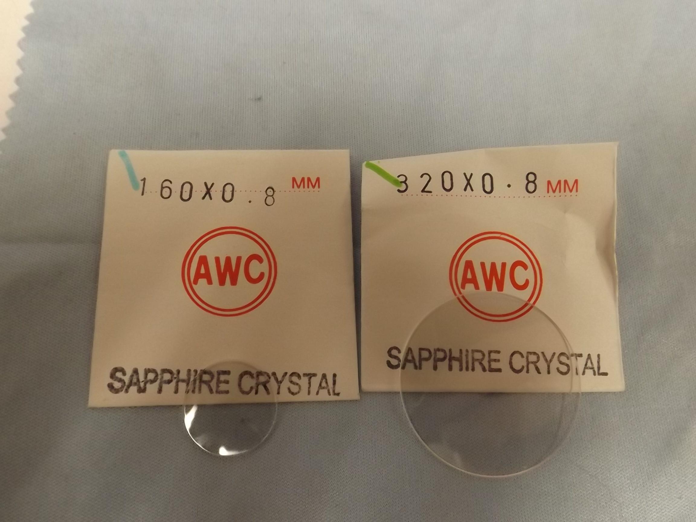 SAP 16.0-32.0MM/ .8MM Sapphire Watch Crystals-- choose MM size