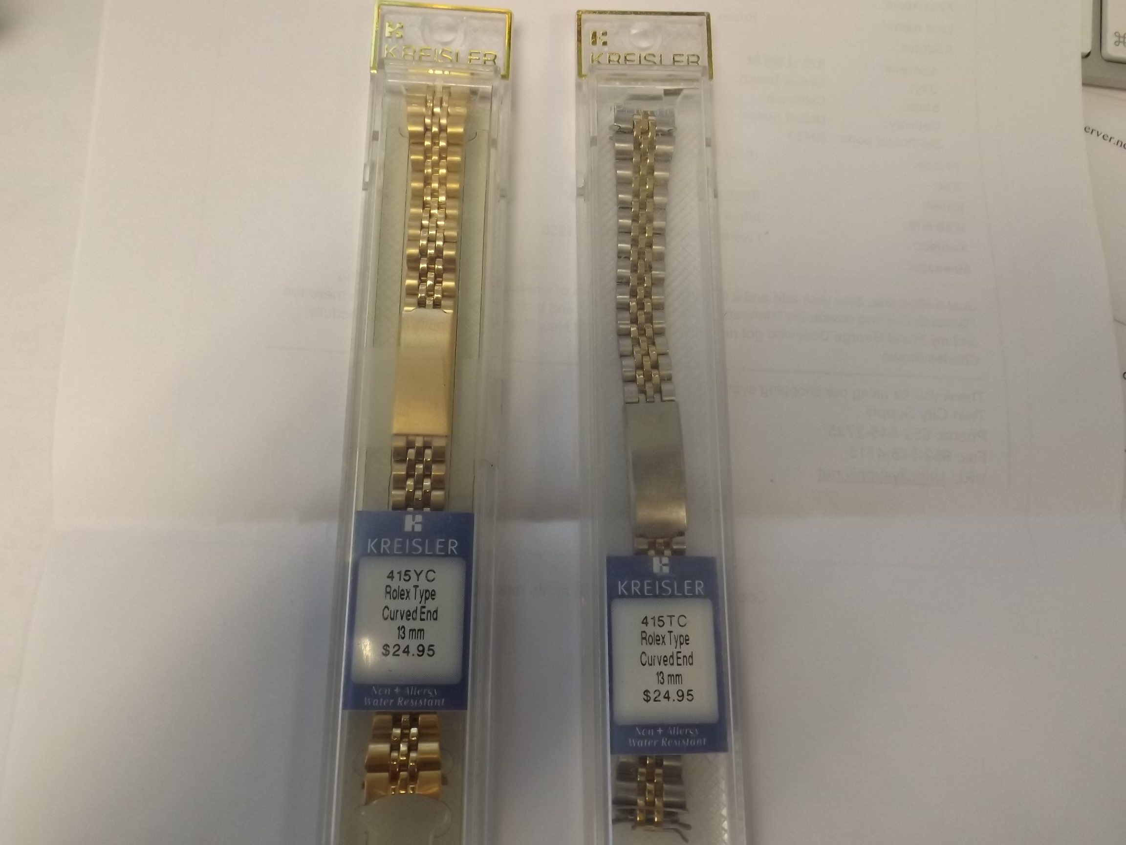 K415YC Kreisler Metal Watchband Yellow Ladies Rolex Style Curved End 13MM Closeout!