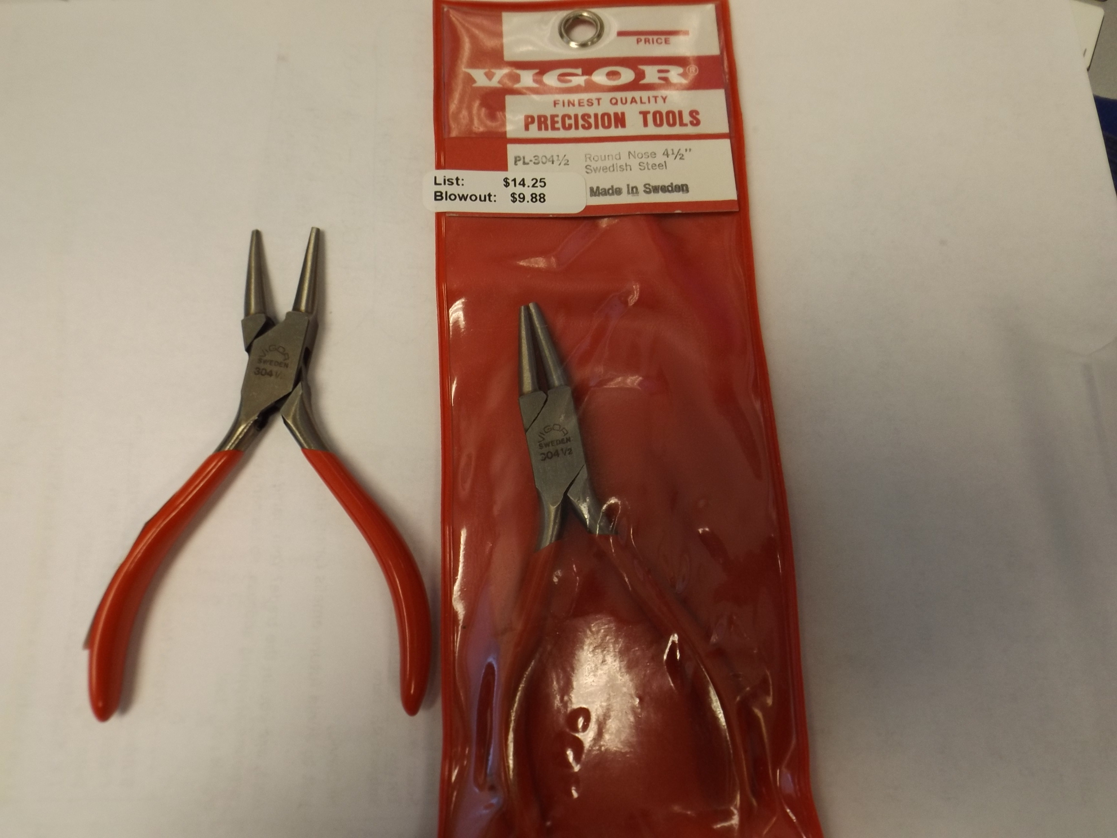 "PL304 Vigor Round Nose 4 1/2"" Swedish Steel Plier-- Blowout Item!"