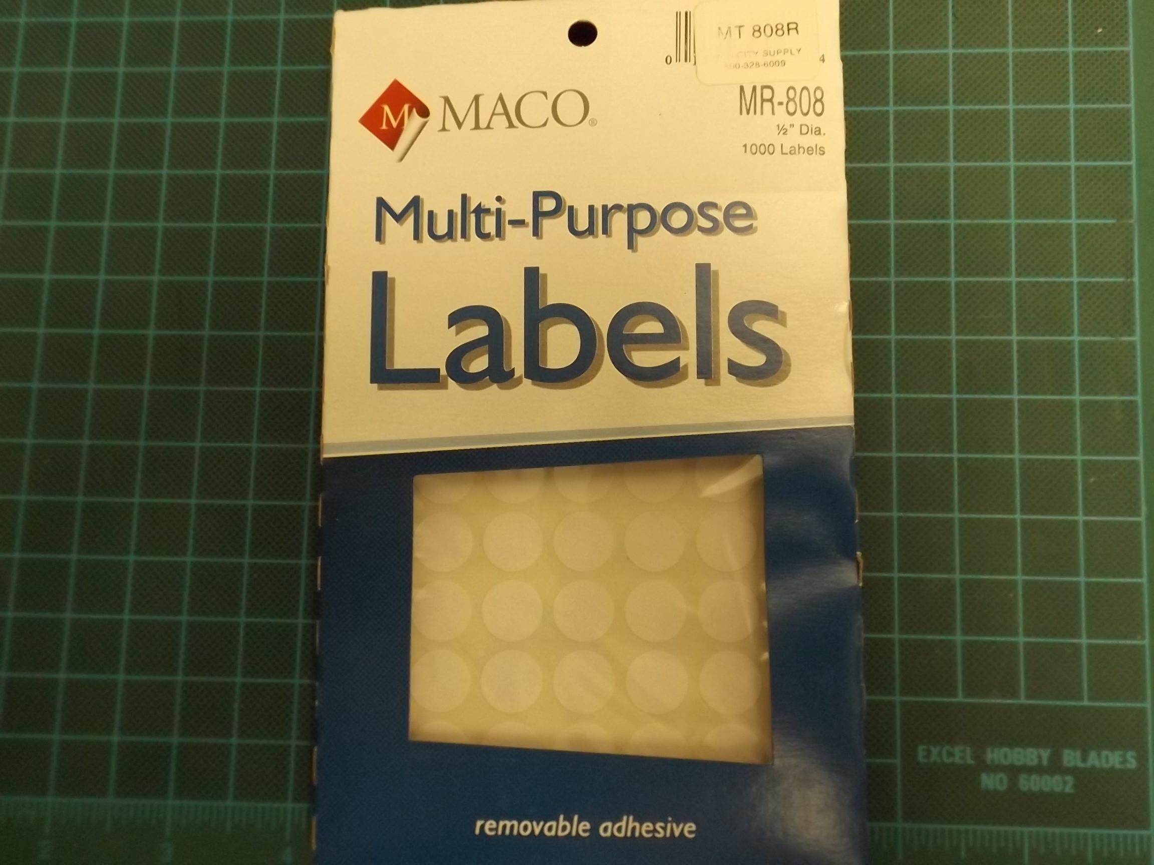 MT808R Maco White Removeable Adhesive Multi-Purpose Labels--Round