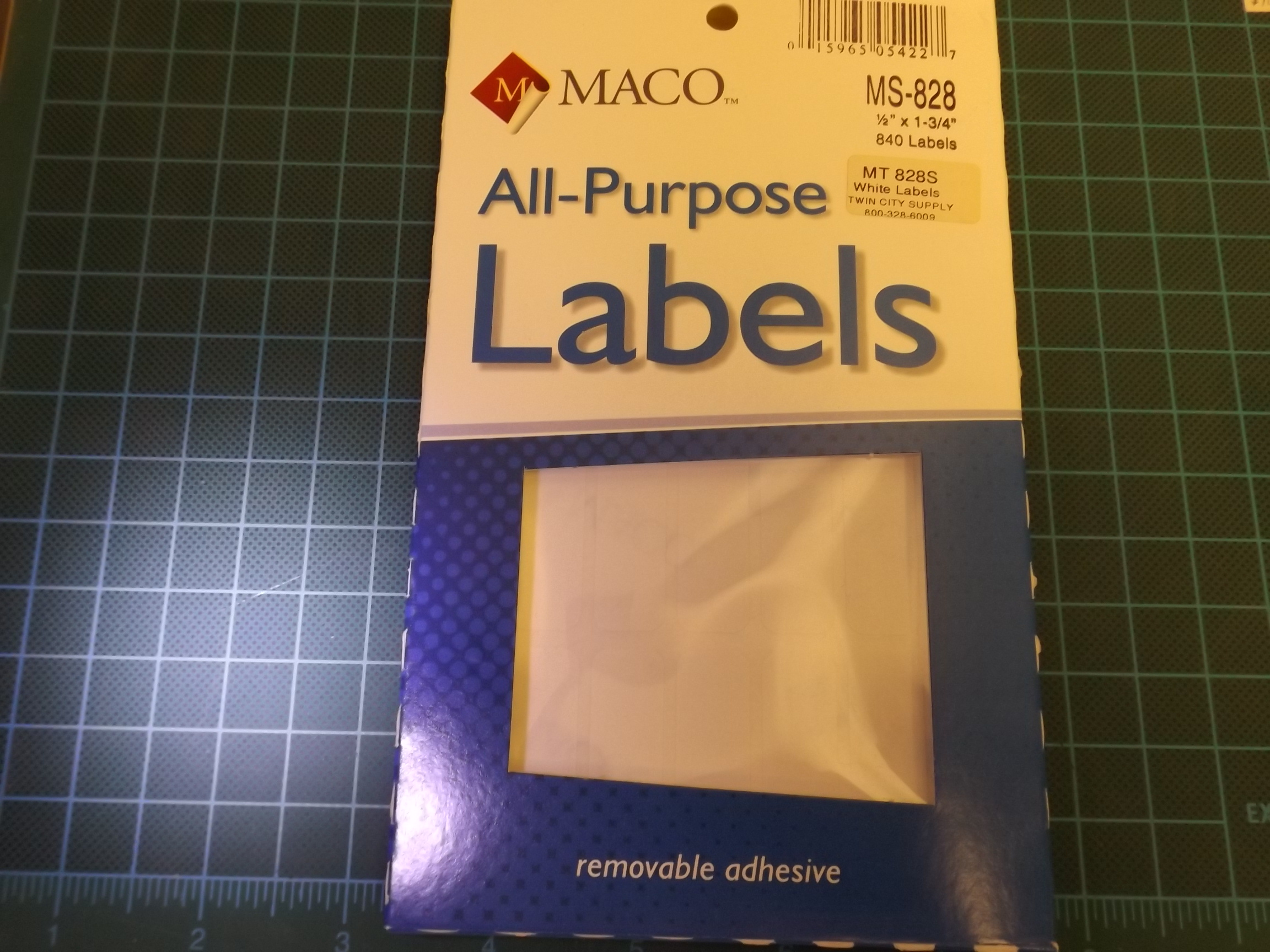 MT828S Maco White Removeable Adhesive Multi-Purpose Labels--Rectangular MS-828